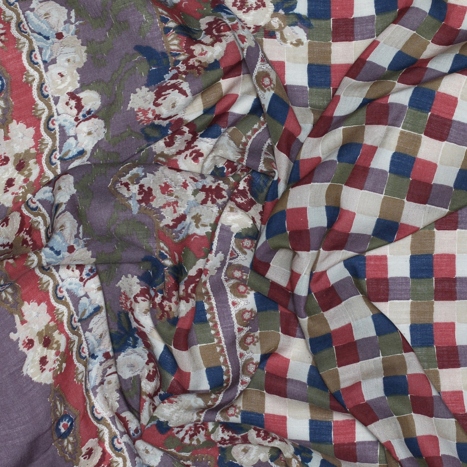 Wool/Cotton Voile Checkered Border Print