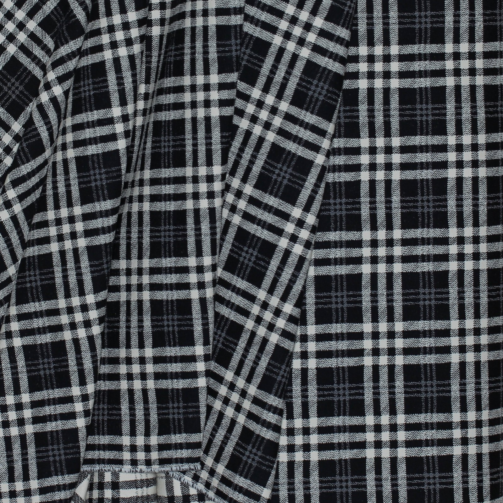Black/White Large Plaid Italian Cotton/Rayon/Lycra