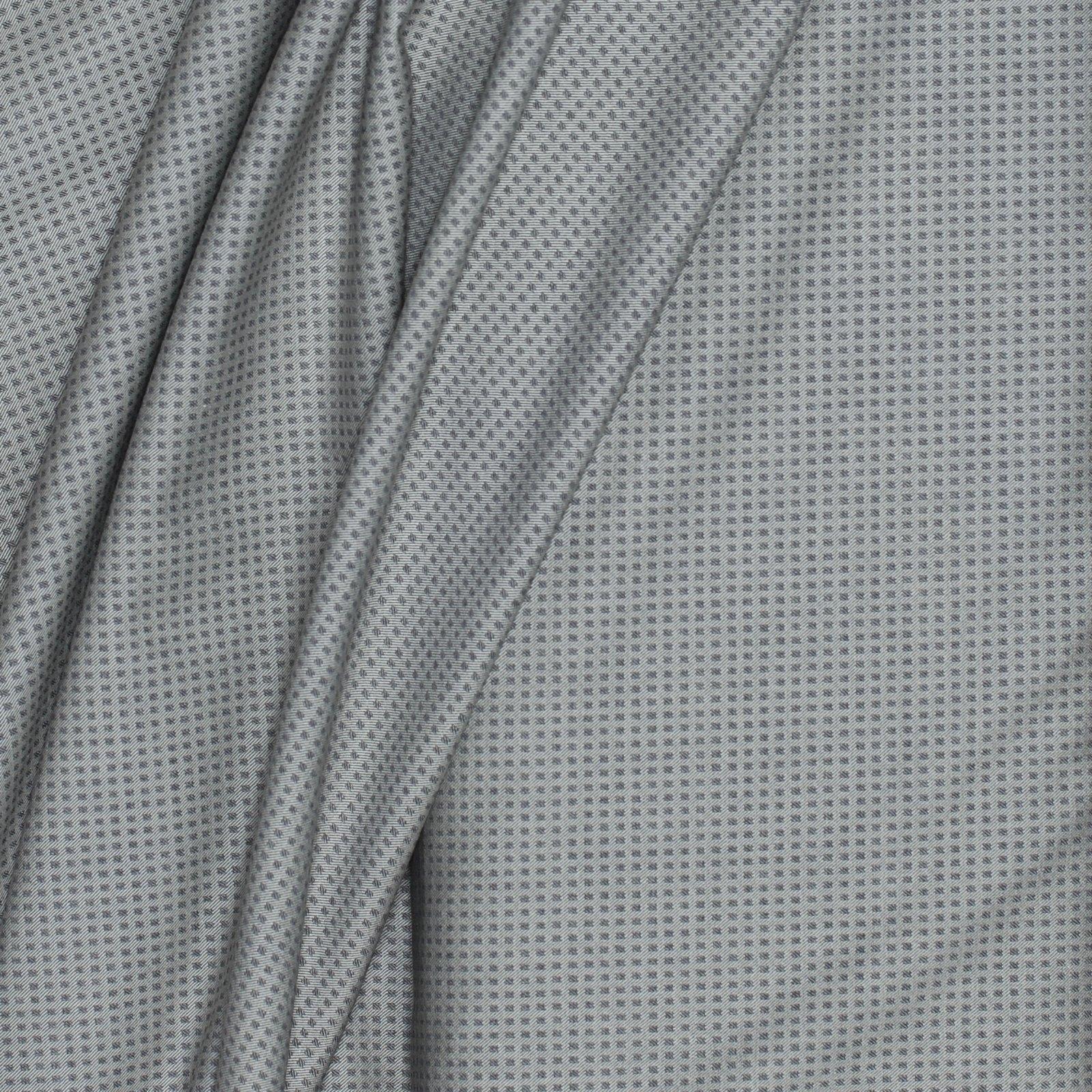 Grey on Grey Small Check Italian Wool w/Lycra