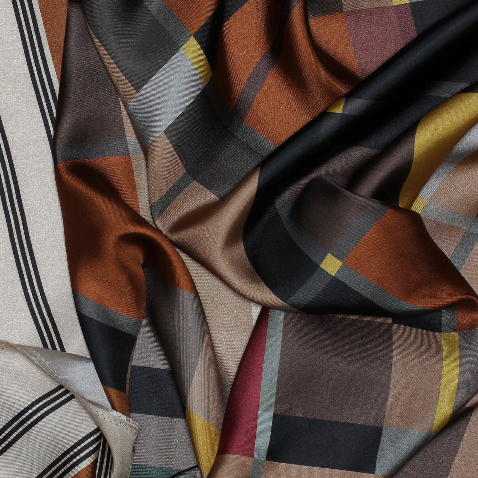 Geometric Earth Tone Silk Twill