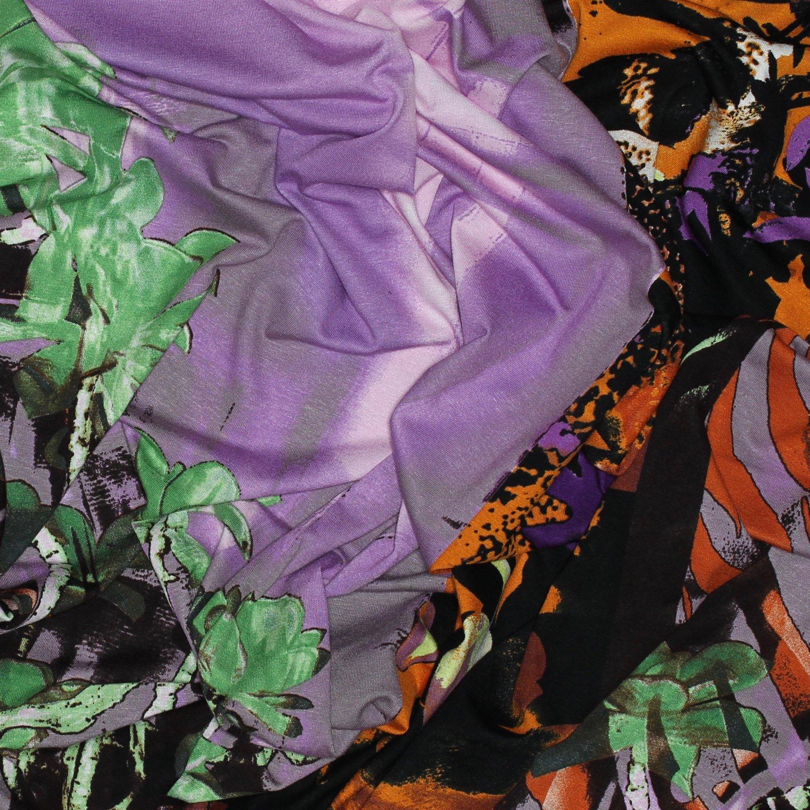 Purple/Orange/Brown Panel Rayon/Lycra Italian Knit
