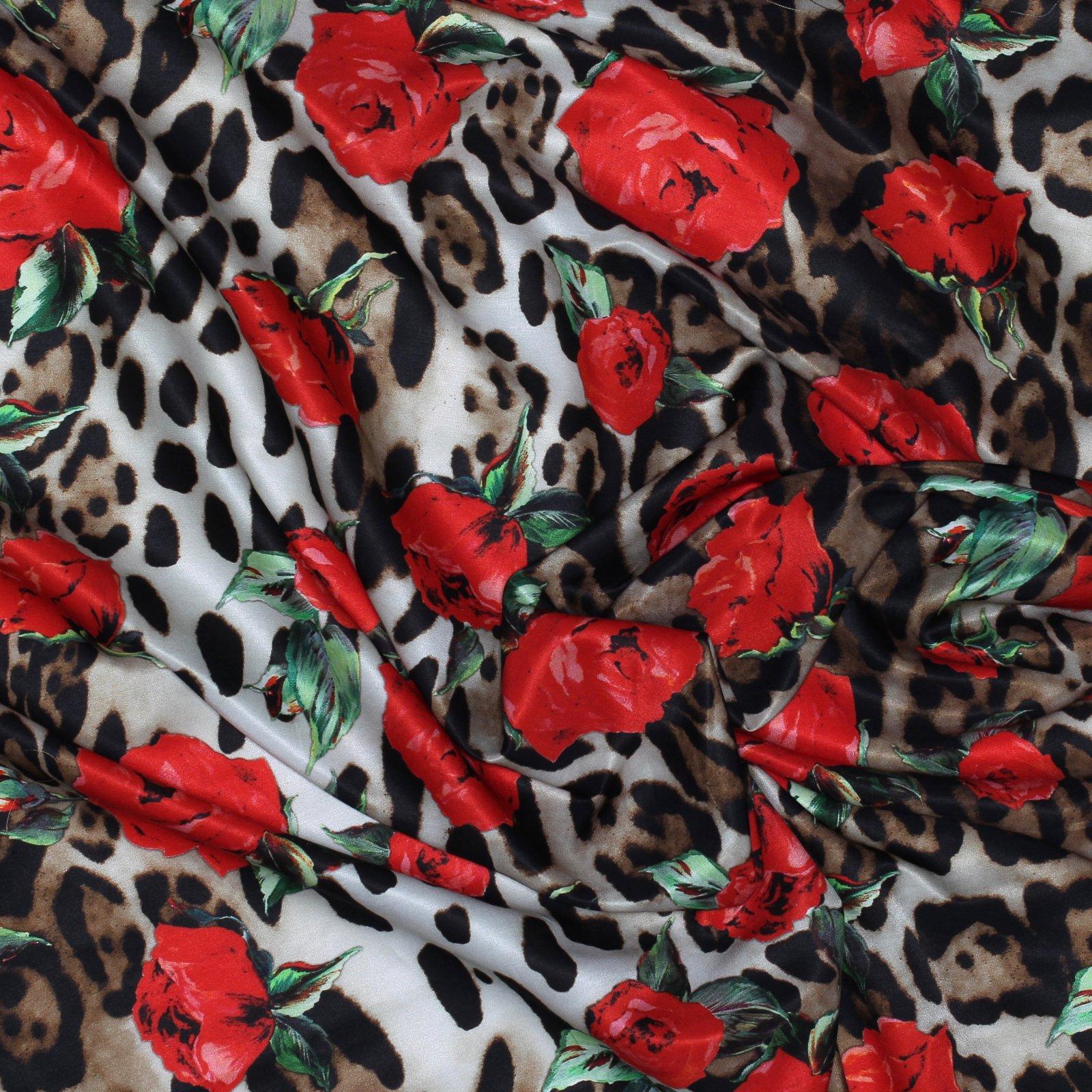 Italian Silk Charmuese Red Rose/Animal Print Dolce Gabanna