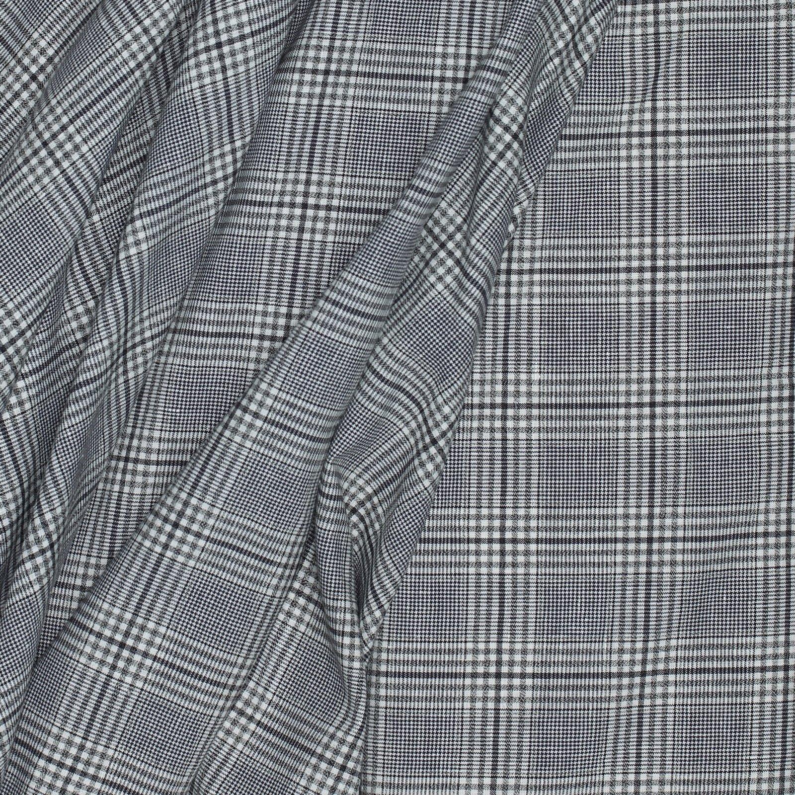 Black on White Woven Plaid Italian Wool/Cotton