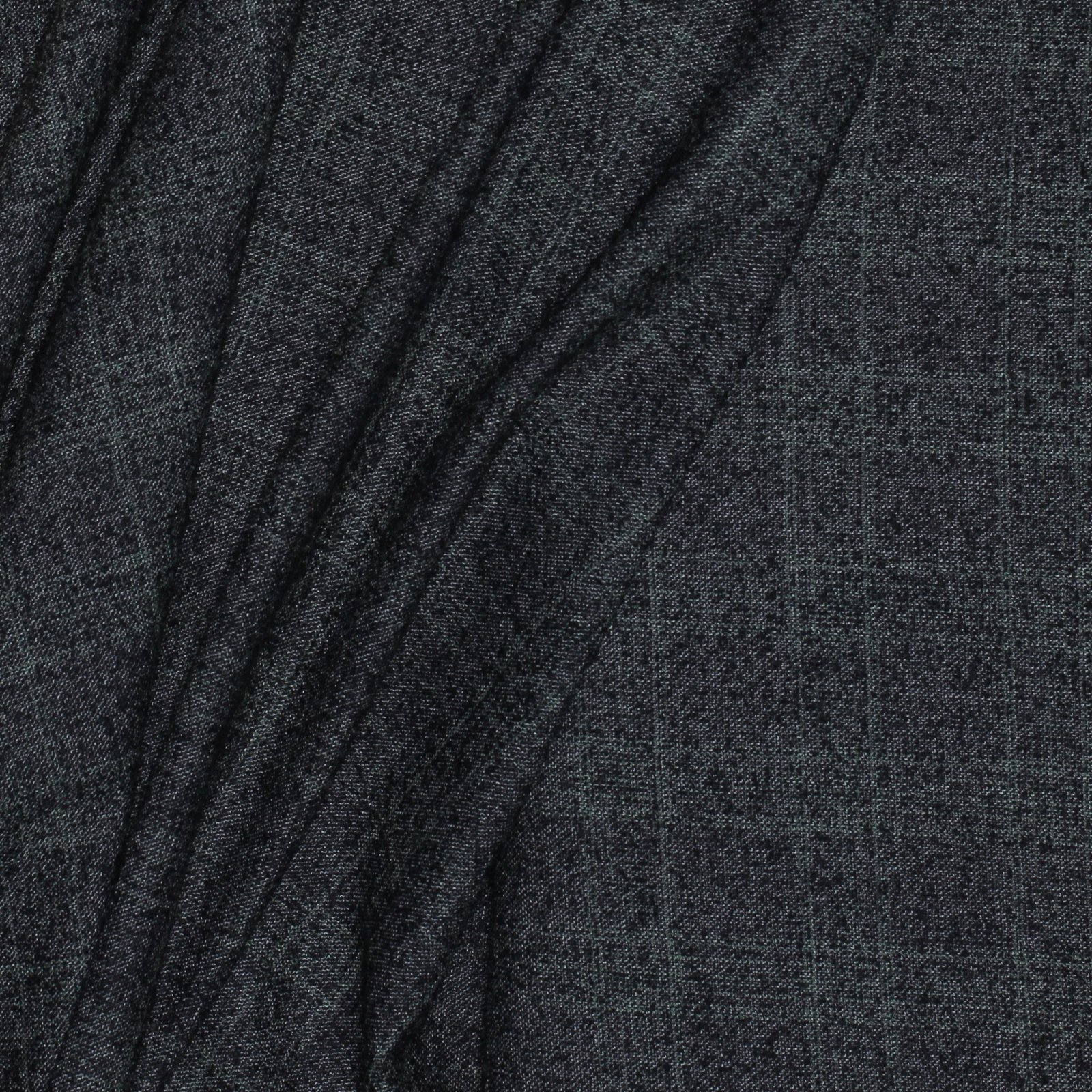 Black w/Subtle Green Plaid Italian Wool Blend