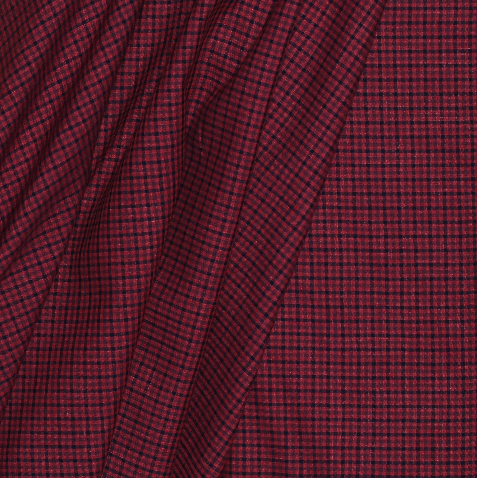 Red/Black Check Italian Linen/Silk Blend