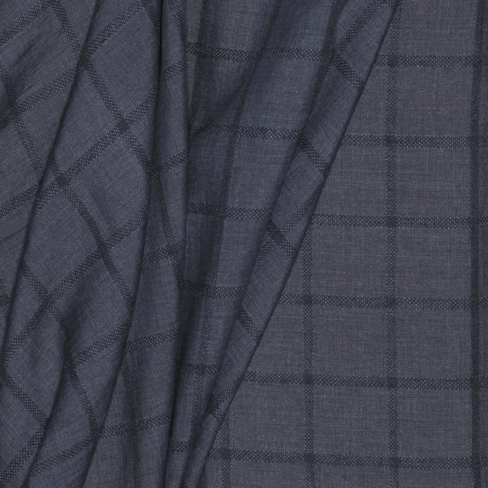 Charcoal Grey w/Jaquard Plaid Italian Linen