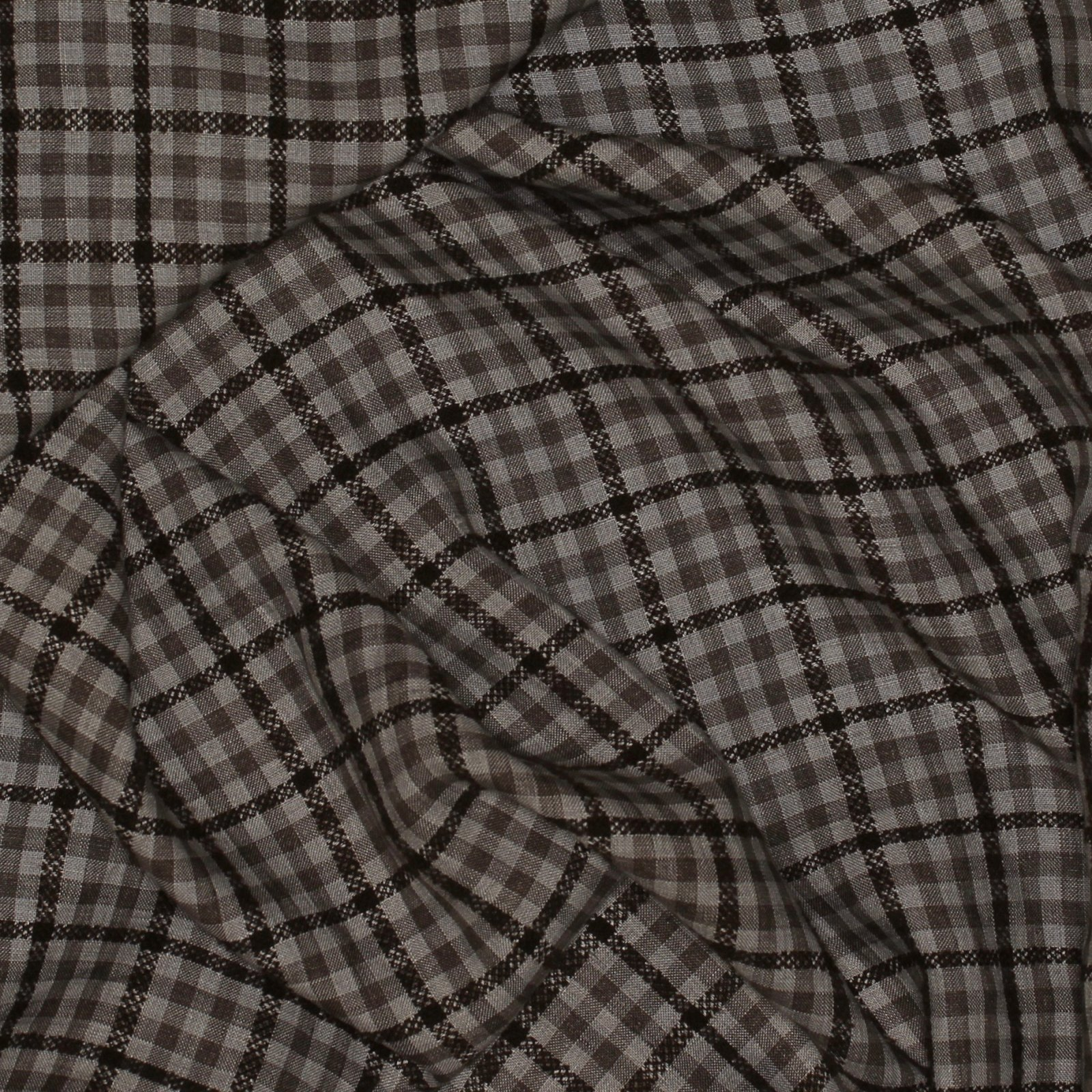 Brown/Ecru Jaquard Check Italian Linen
