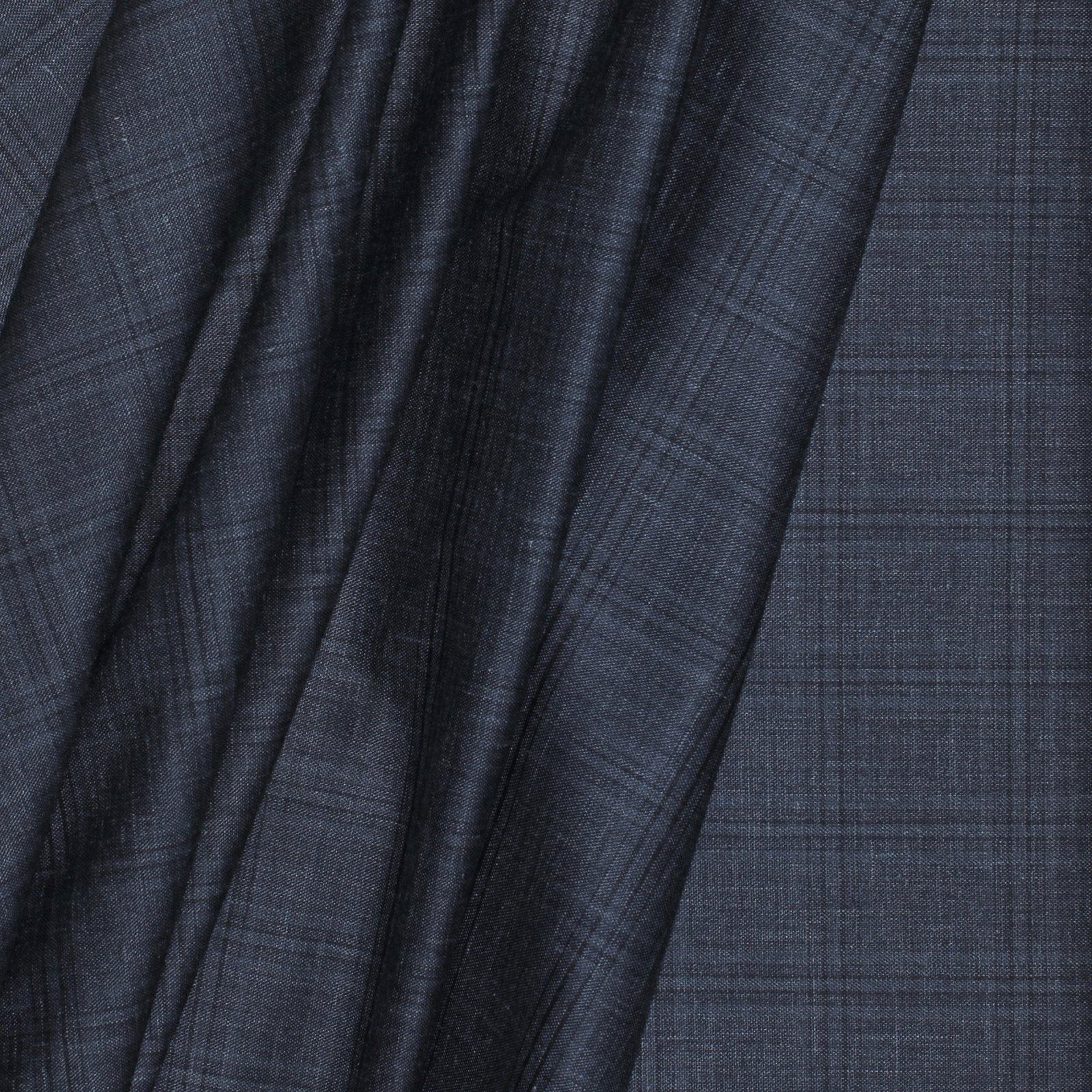 Charcoal Grey Plaid Wool/Linen/Silk Italian Blend