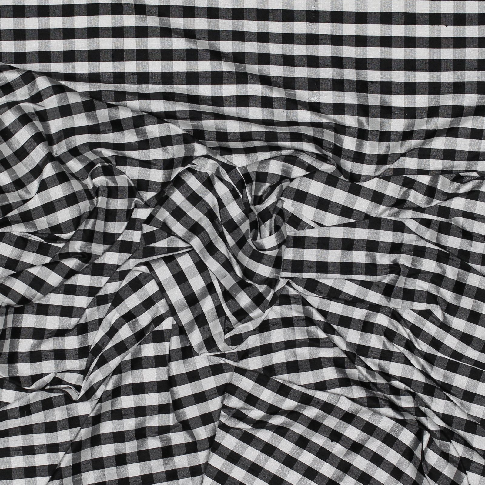 Black & White Check Handwoven Silk Dupioni