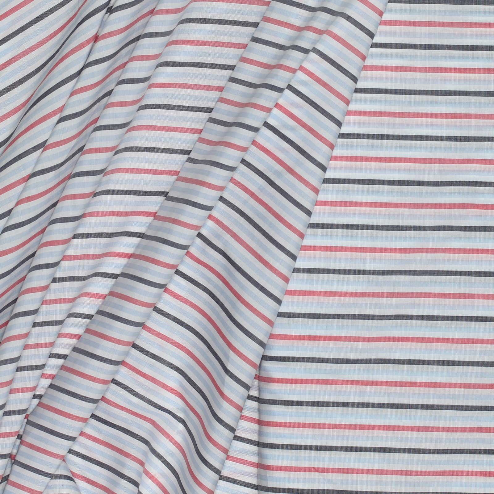 Red/Sky Blue/Navy Stripe Italian Cotton 120s 2PLY