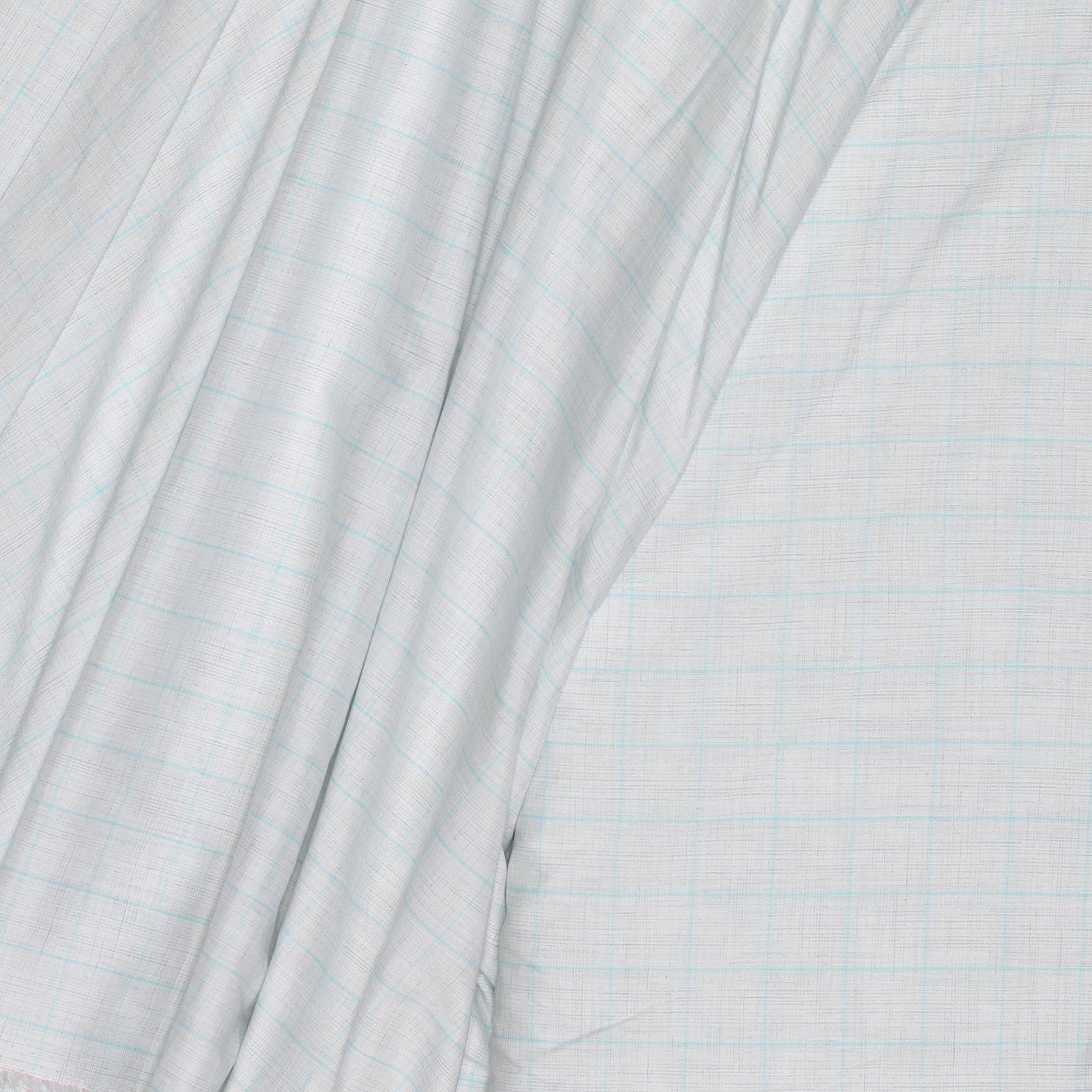 Heathered Ecru w/ Teal Window Pane Italian 120s 2PLY Cotton