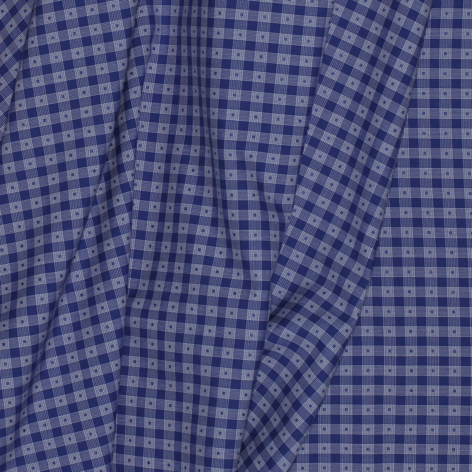 Blue/White Check w/Woven Dot 120s Italian Cotton