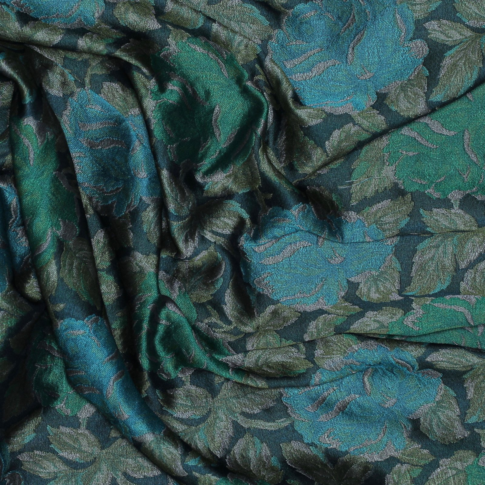 Green/Teal Floral Italian Brocade