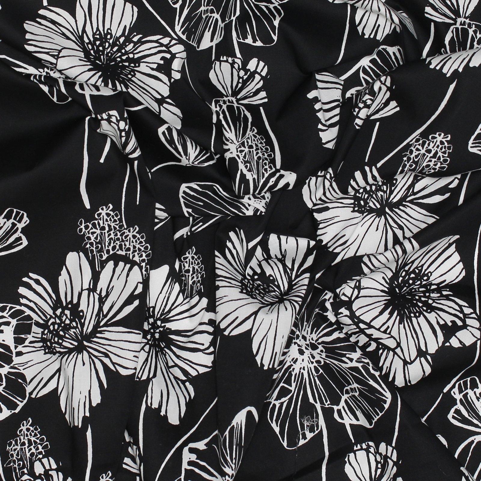 Black/White Stretch Poplin Print