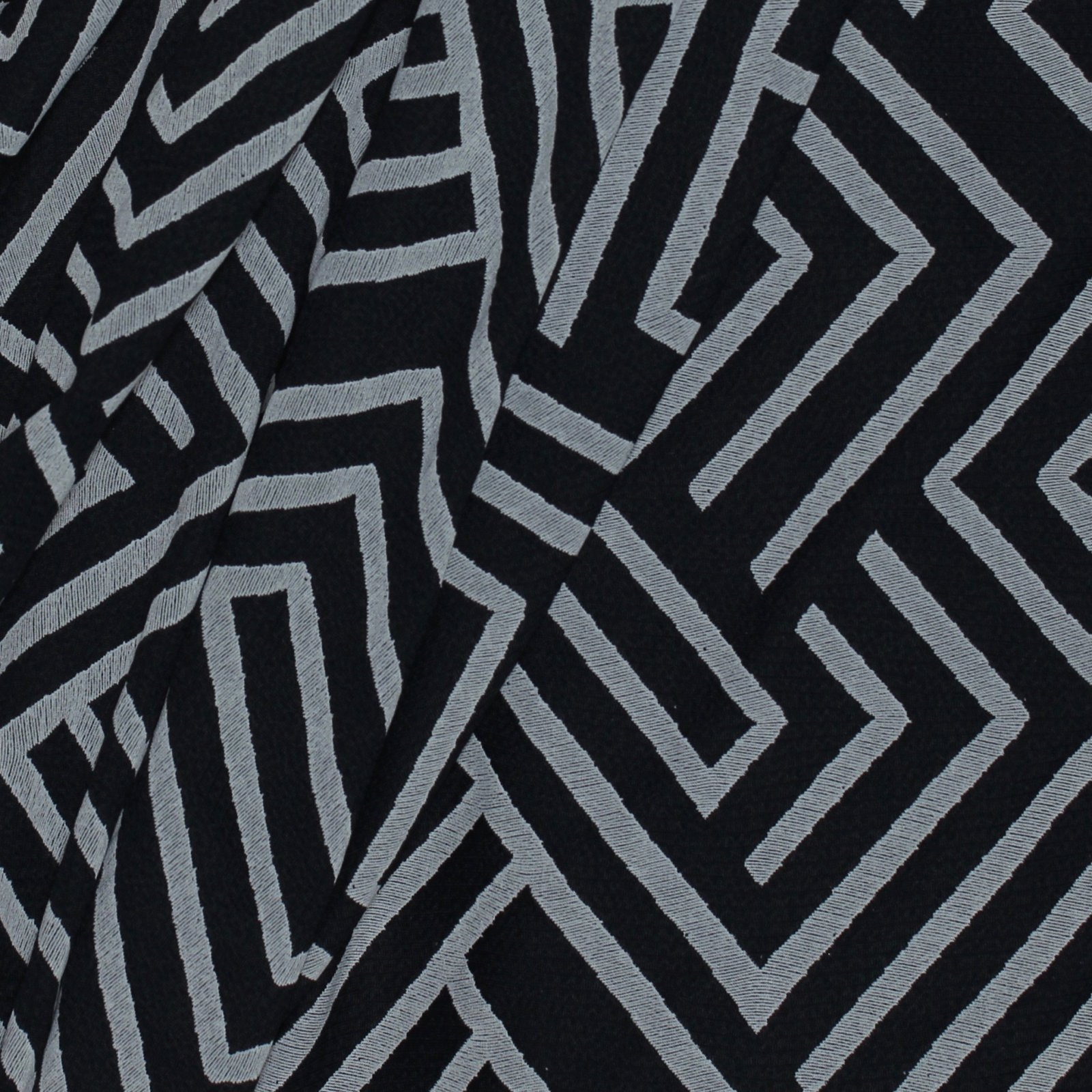 Black/Grey Poly/Lycra Geometric Knit