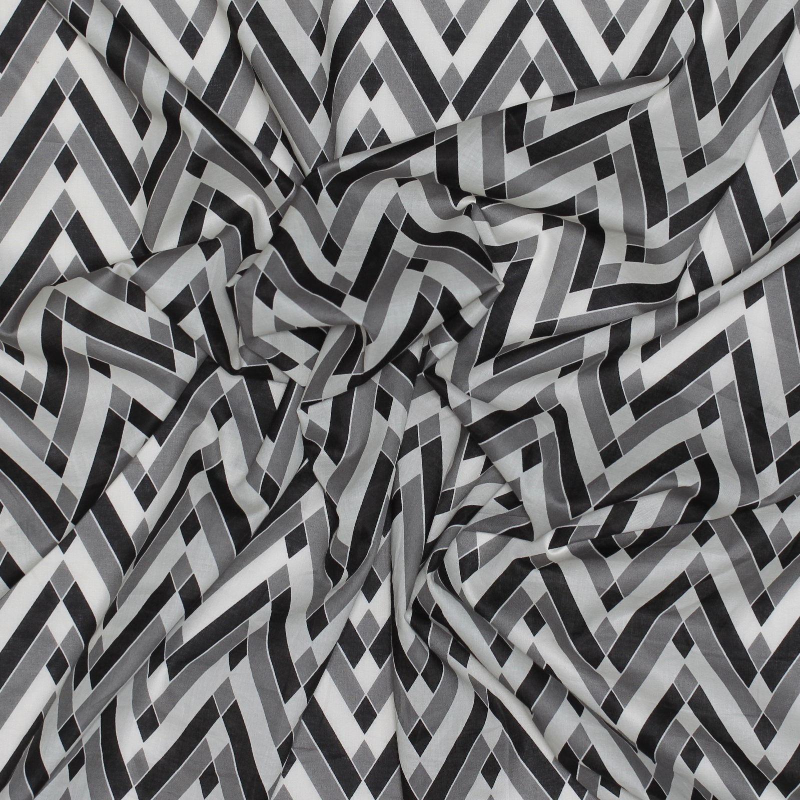 Westminster Geometric Black Cotton Voile