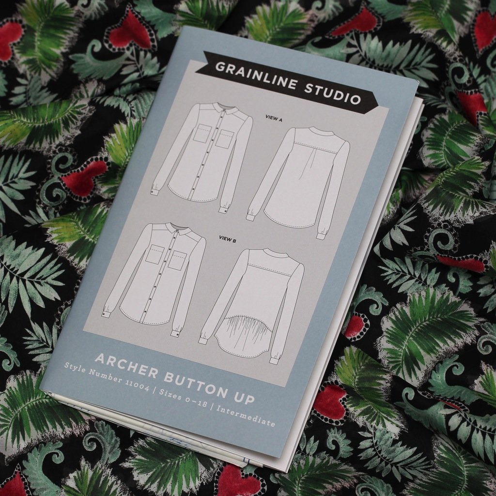 Archer Button Up Shirt - Grainline Studio Printed Pattern