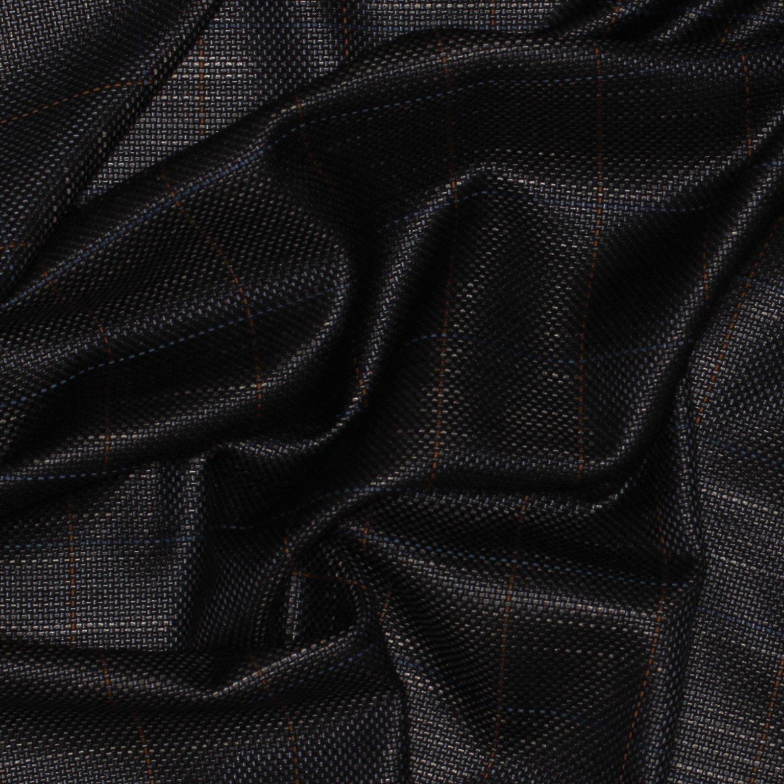 Black/Blue/Brown Large Windowpane Italian Silk/Wool Plaid; 60