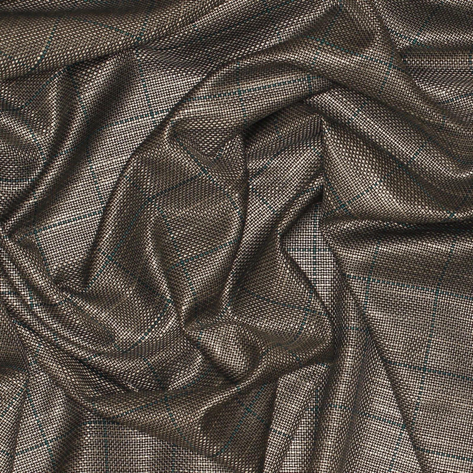 Silver/Black/Teal Windowpane Italian Silk/Wool Plaid; 60