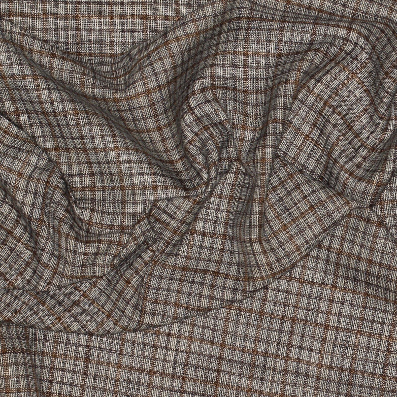 White/Blue/Tan Italian Linen/Silk Tattersall Plaid; 60