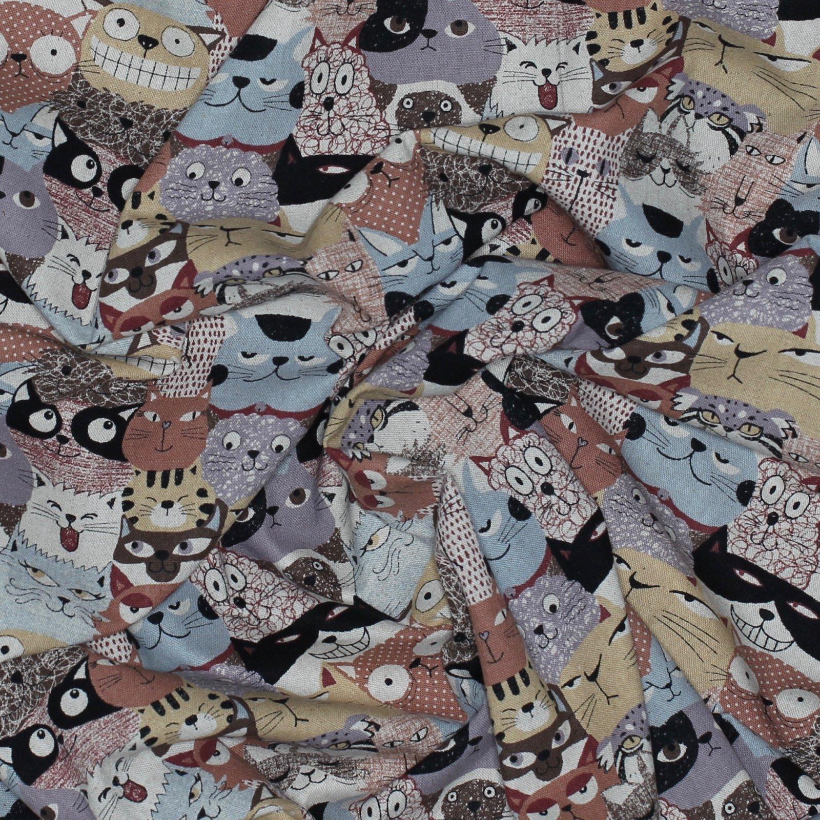 Cats on Browns - Japanese Cotton/Linen Blend