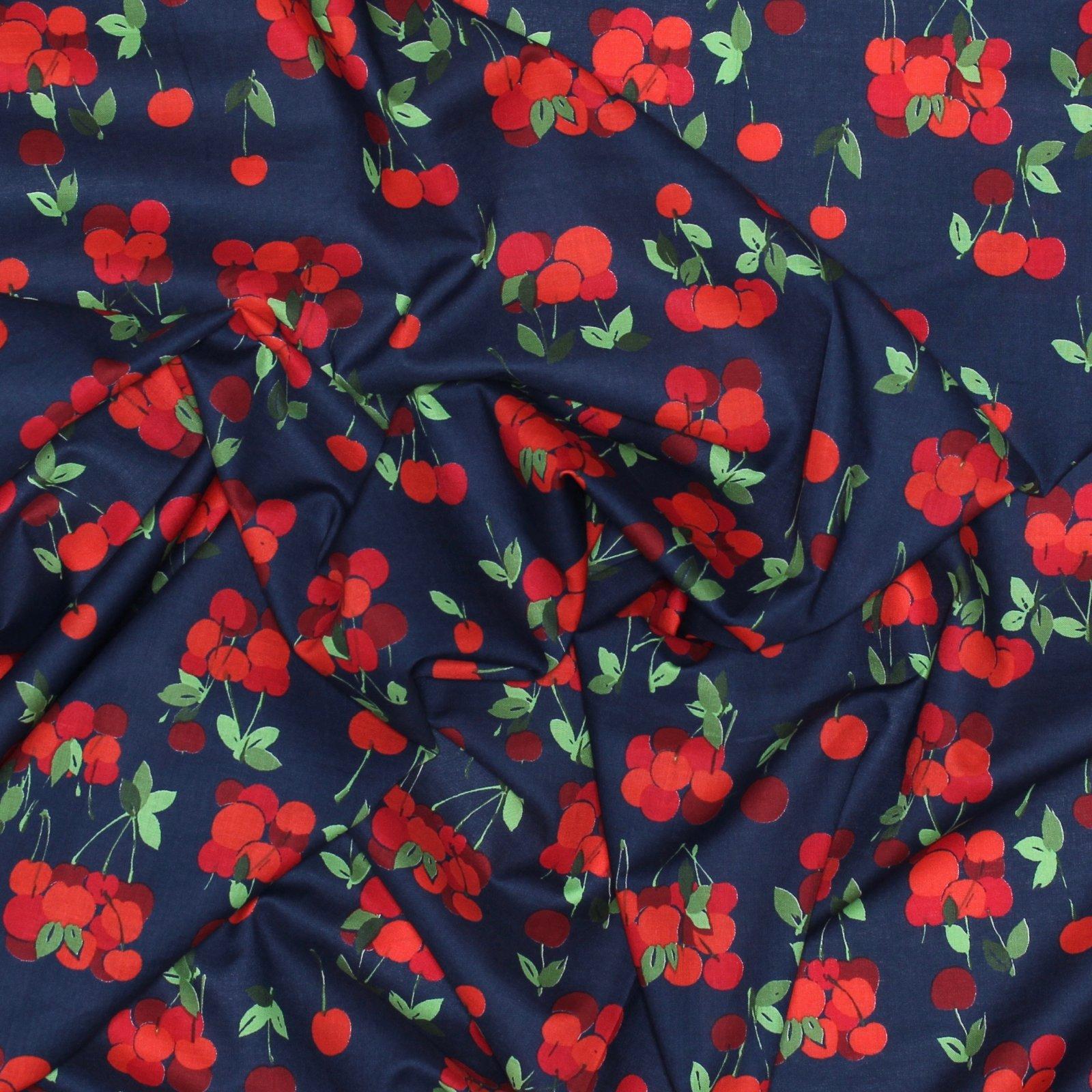 Hokkoh - Cherries on Navy - Japanese Cotton Lawn