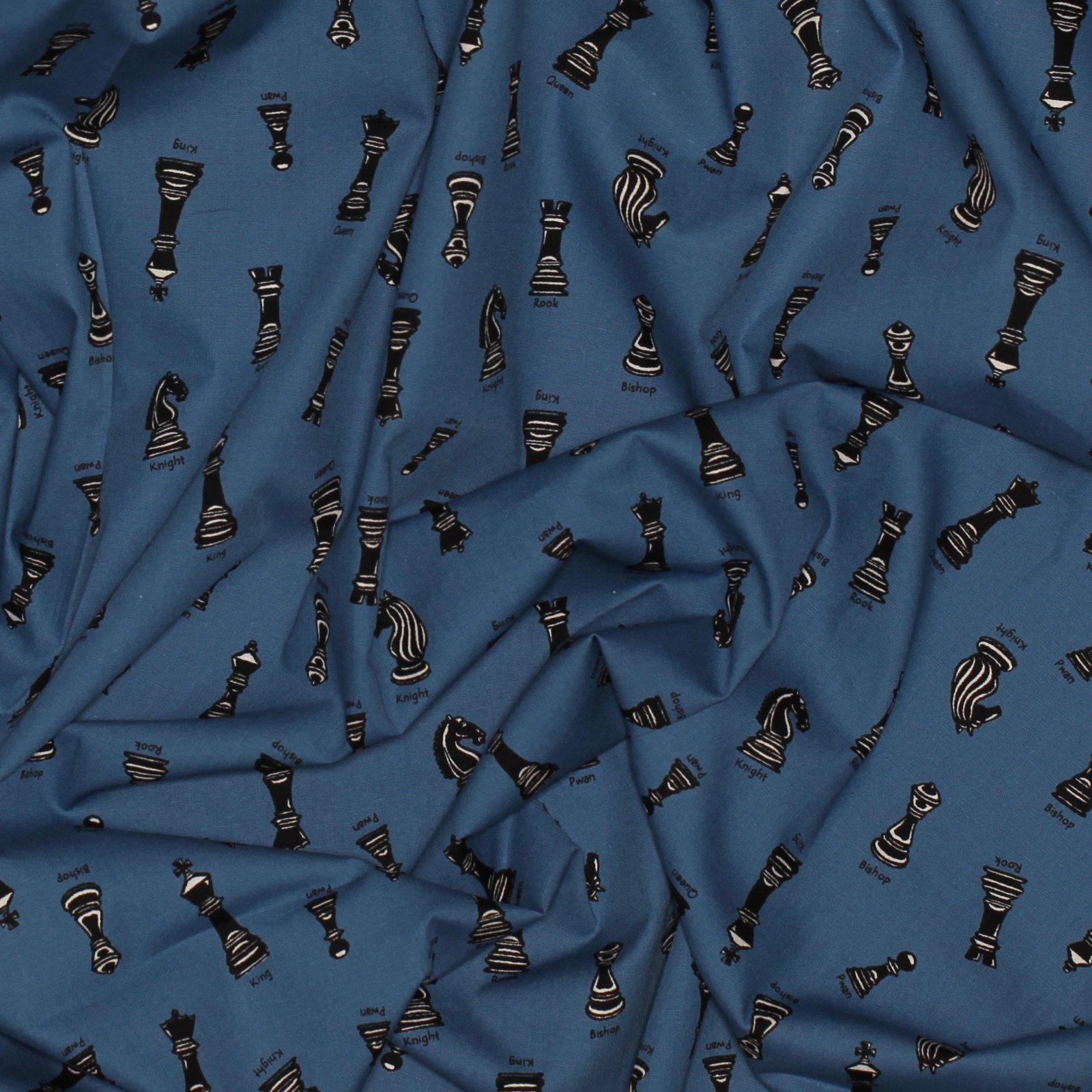 Chess Pieces on Blue - Japanese Cotton Poplin - Sevenberry