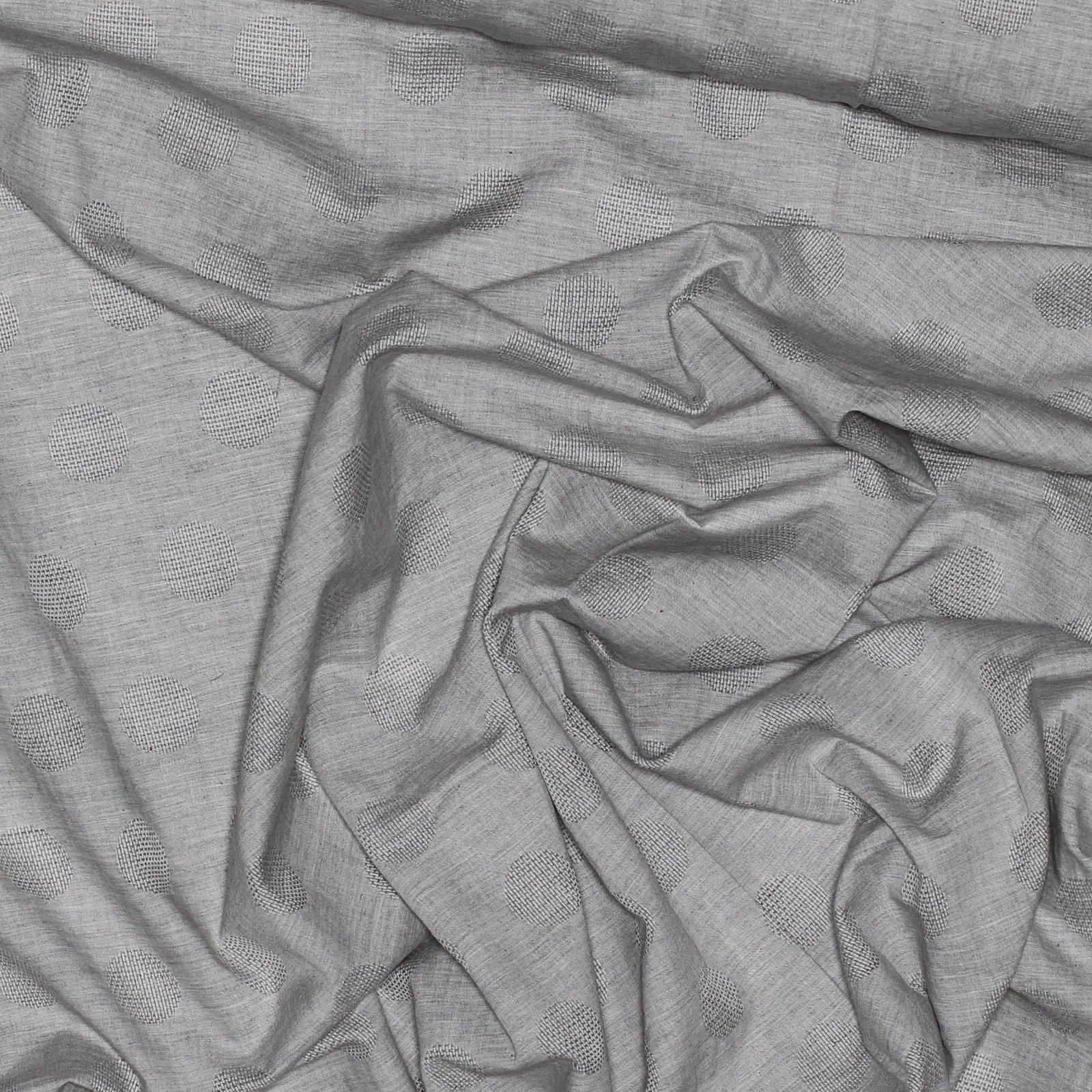 Yarn Dyed Jacquard - Soft Grey w/Circles
