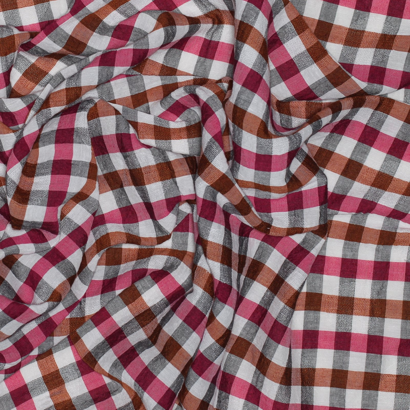 Pink/Orange/Black/White Plaid Linen Jacquard