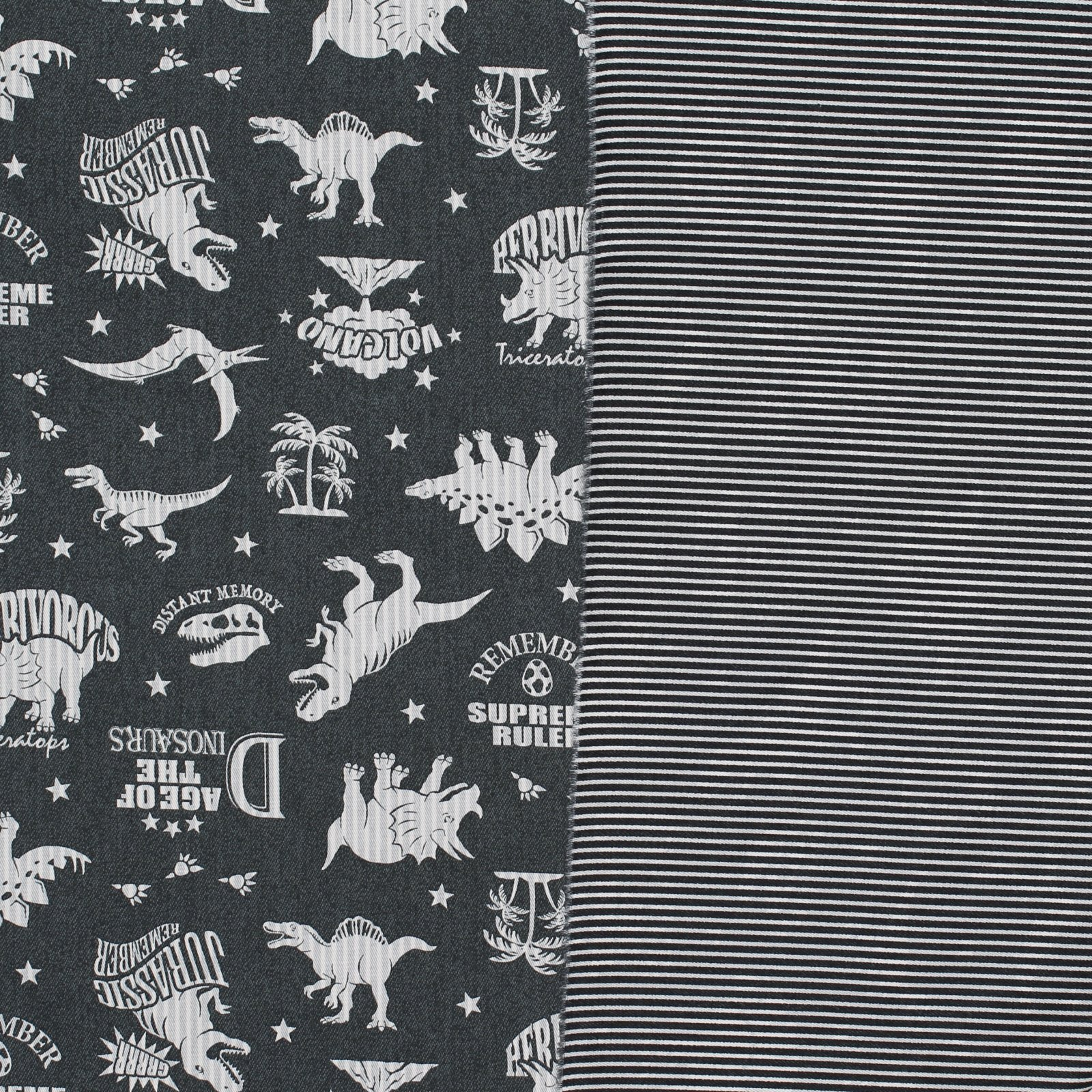Double Sided Twill - Dinosaur & Stripes Japanese Cotton