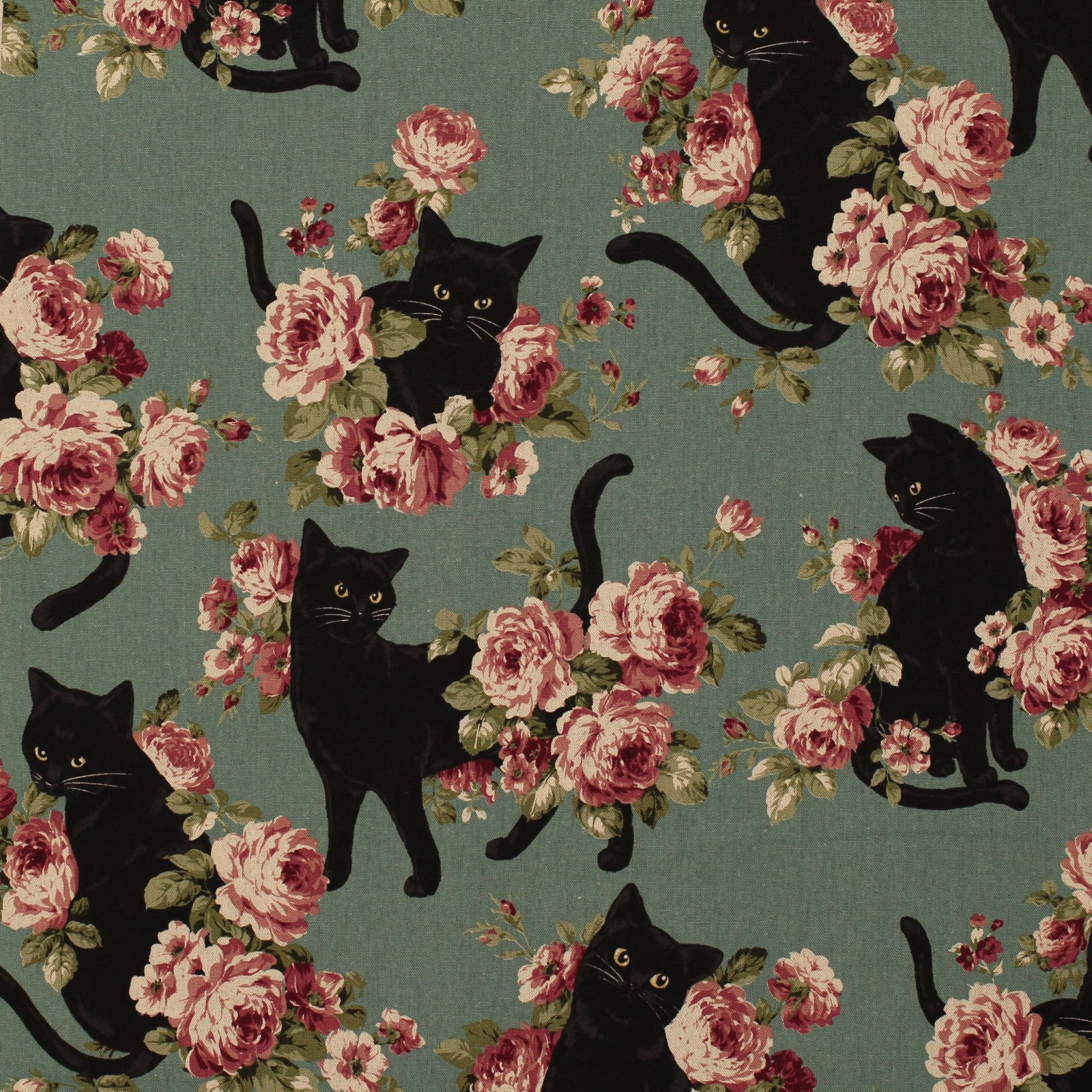 Cat with Roses on Teal - Japanese Cotton/Linen Canvas