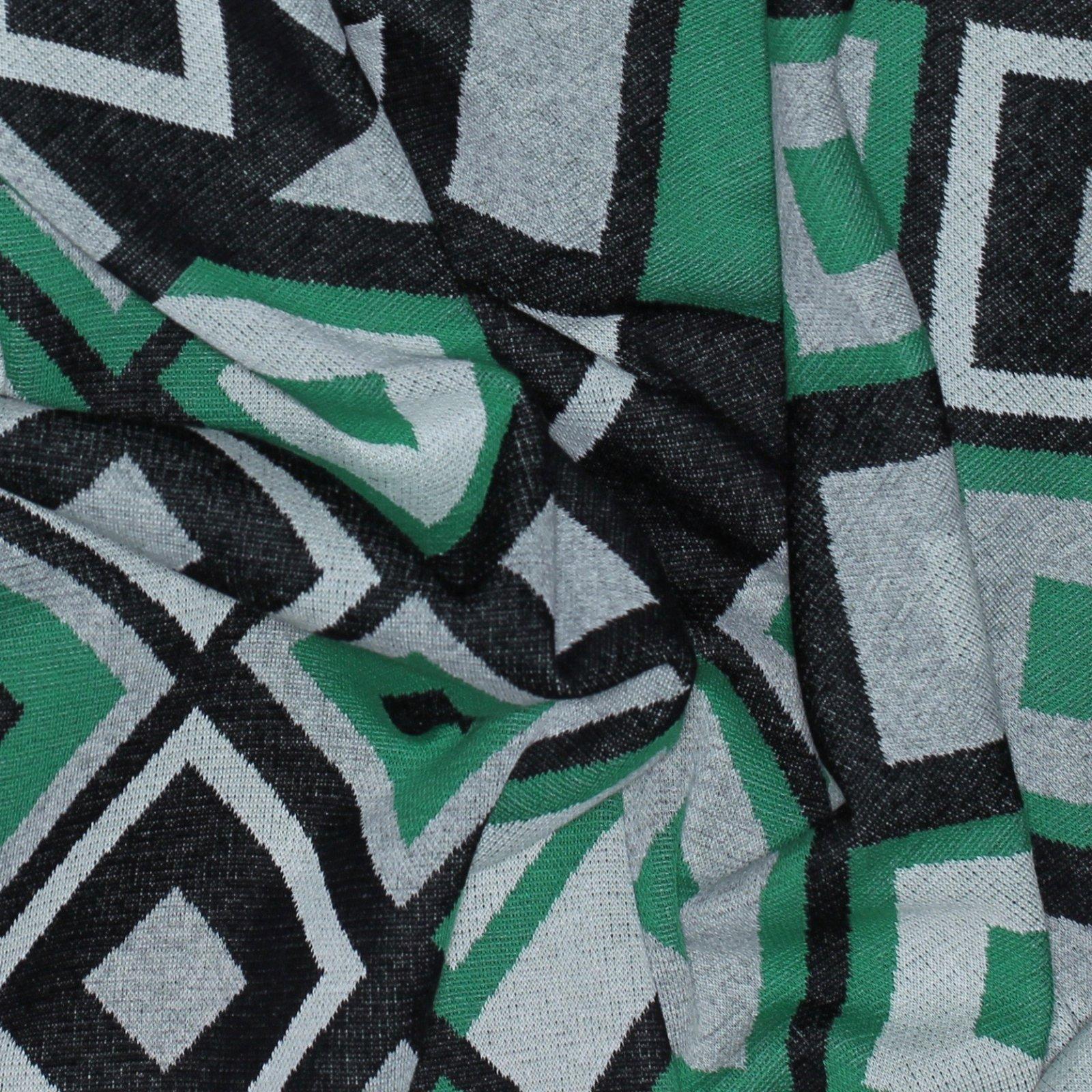 Green/Black Geometric Jacquard Italian Knit