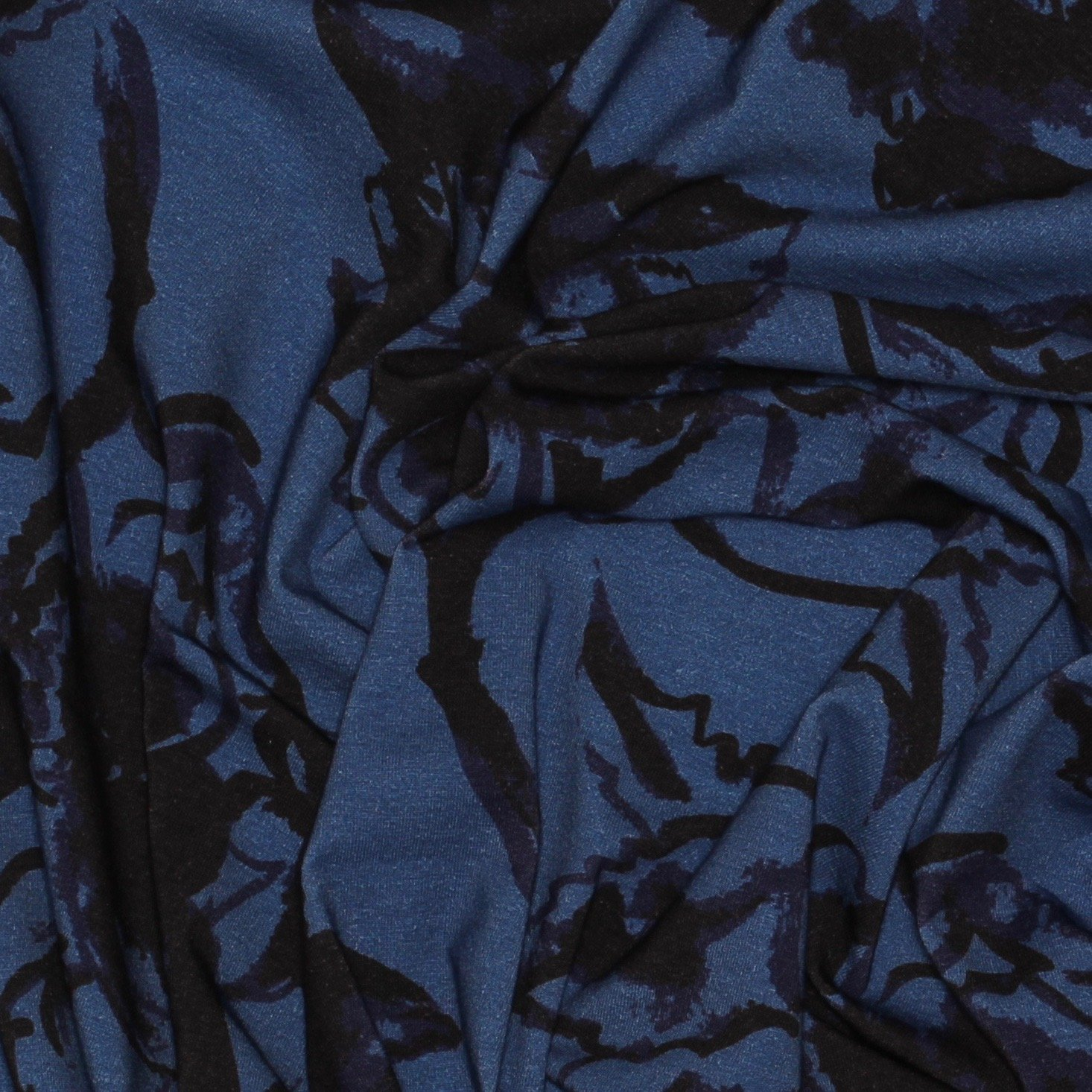 Tammie Green Hibiscus Knit - Coastal Blue - Riley Blake
