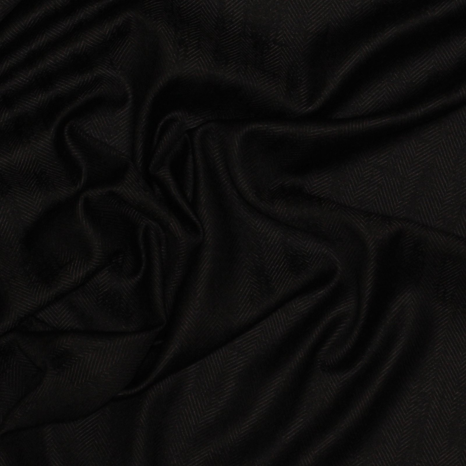 Black Herringbone Distressed Look Italian Wool/Cashmere Blend; 60