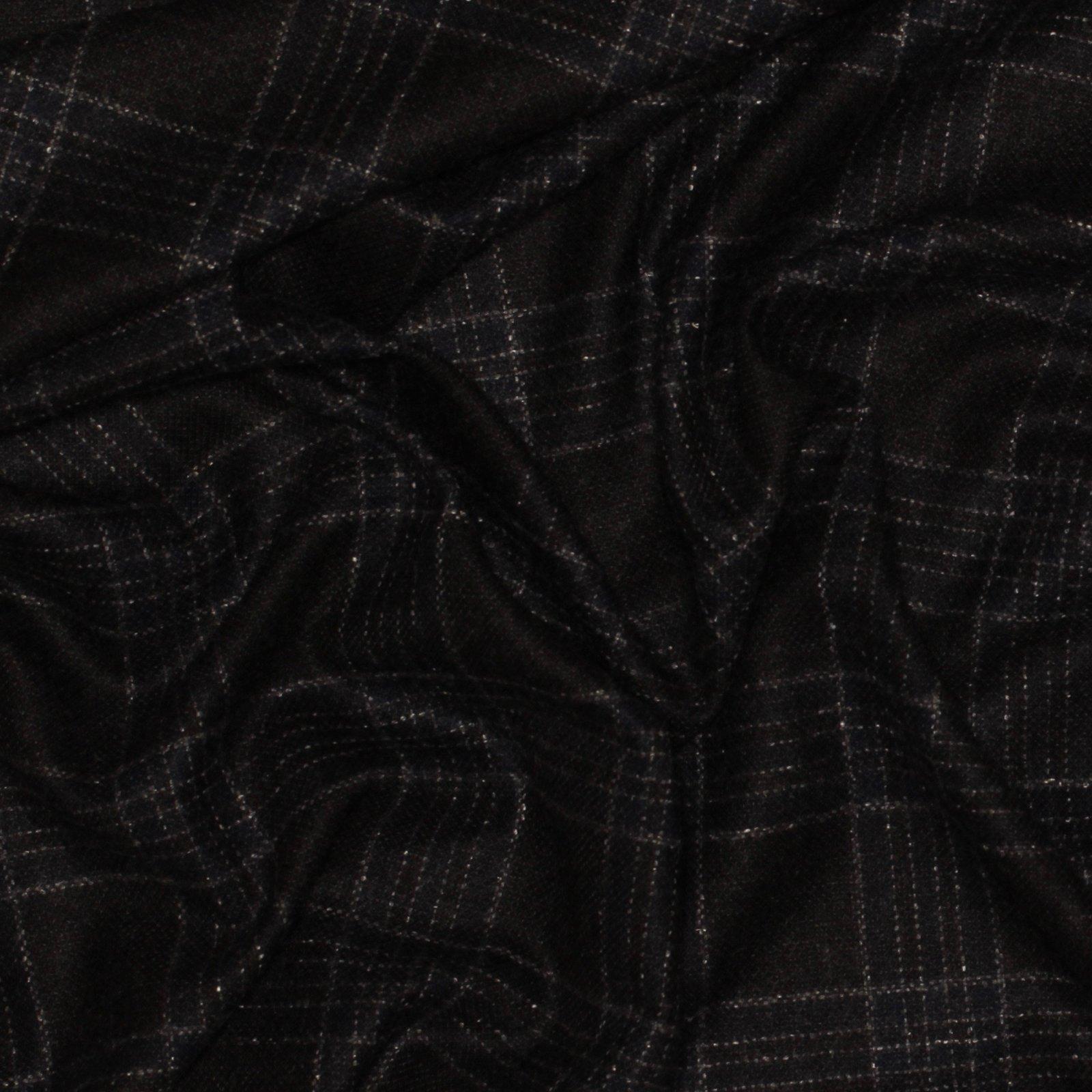 Black/Blue Box Plaid Italian Wool/Silk; 60