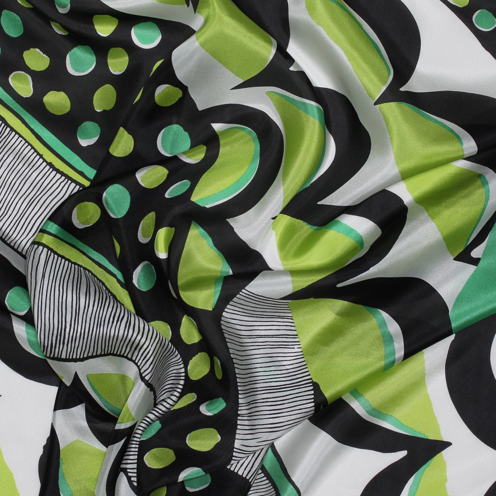 Green Abstract Printed Silk