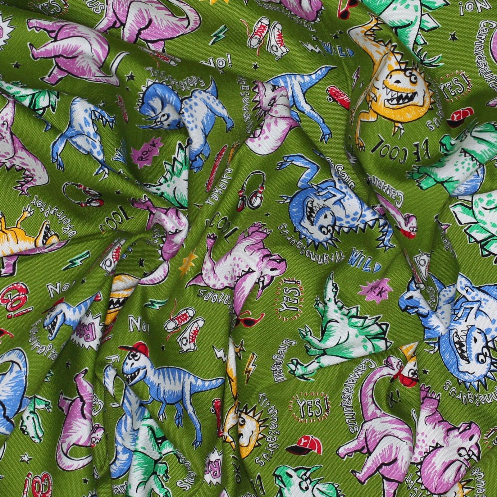 Dinosaurs on Olive - Japanese Cotton
