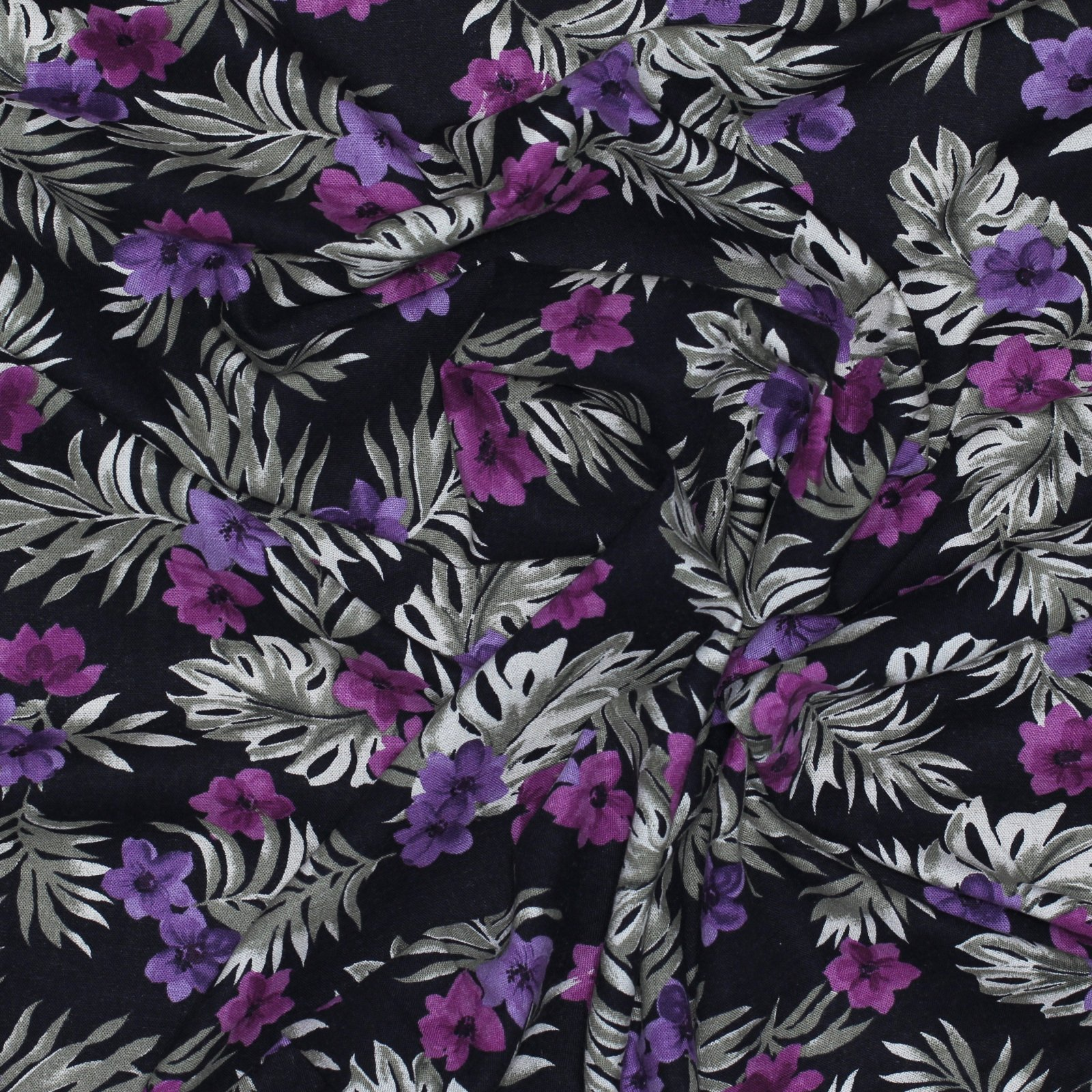 Floral on Black Printed Linen