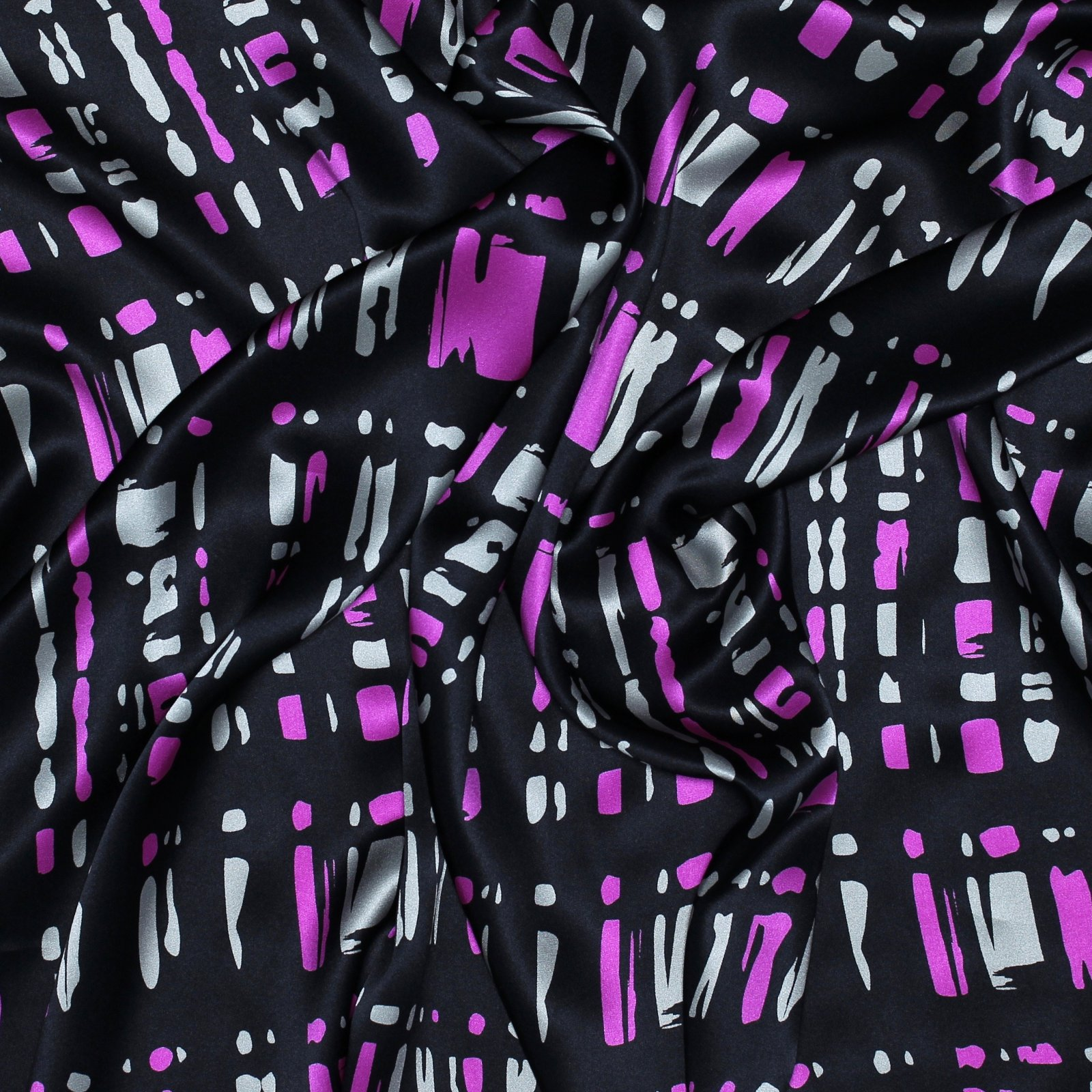 Pink/Grey on Black Silk Charmuese