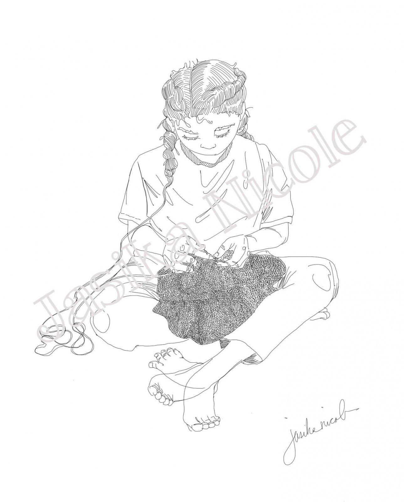 Stockinette Illustration by Jasika Nicole; 11x17