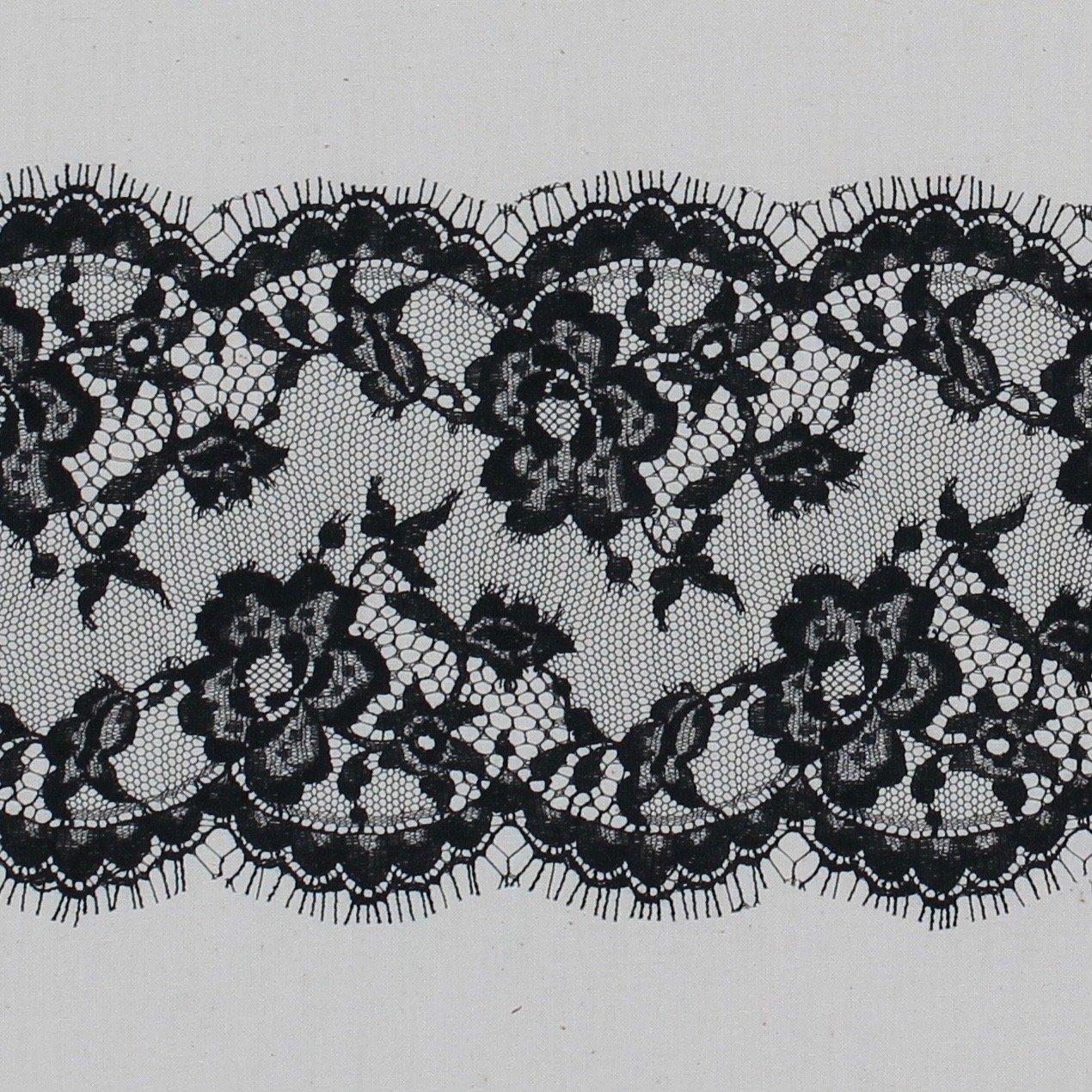 5 Double Scallop Black Lace