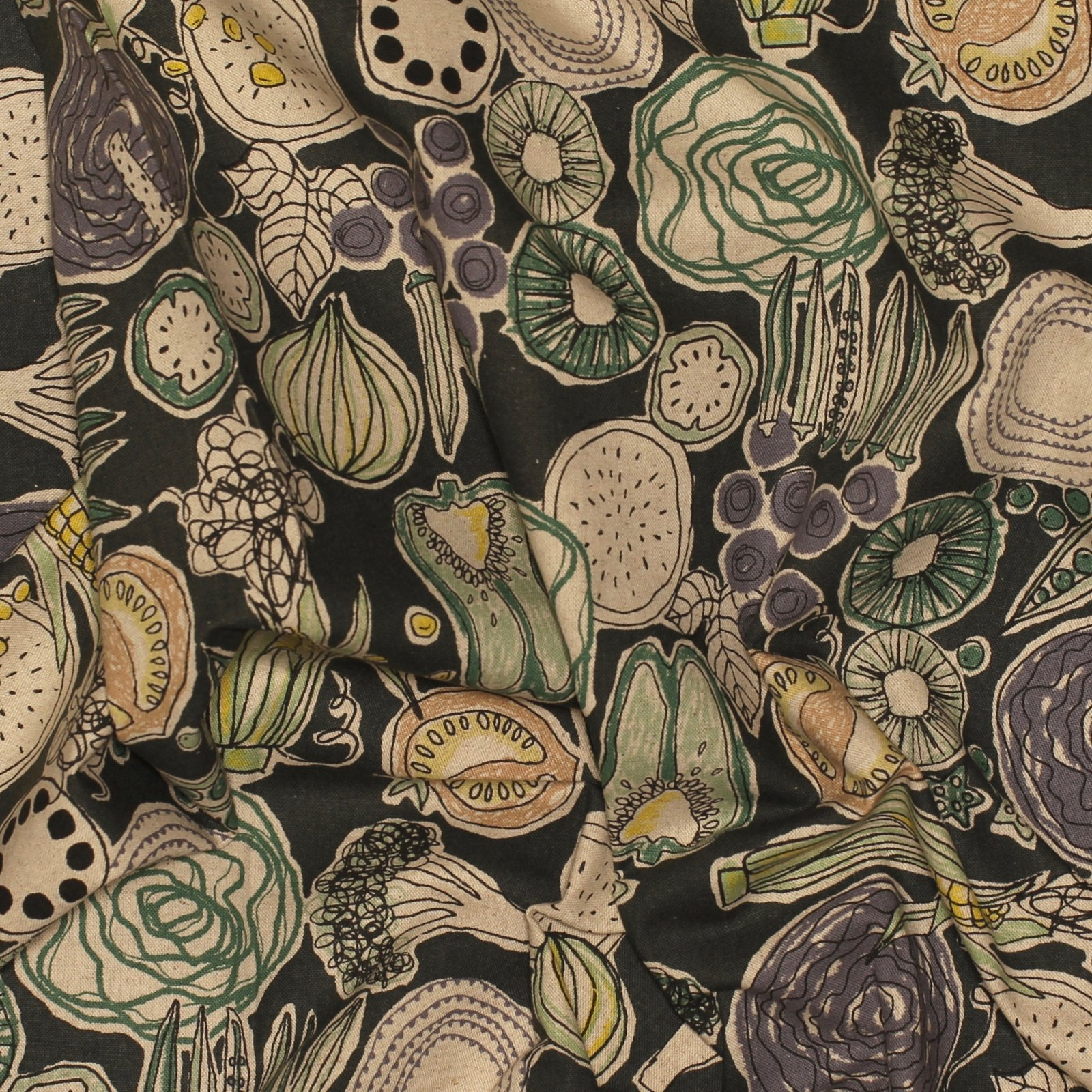Pastel Veggies on Charcoal - Japanese Cotton/Linen Canvas