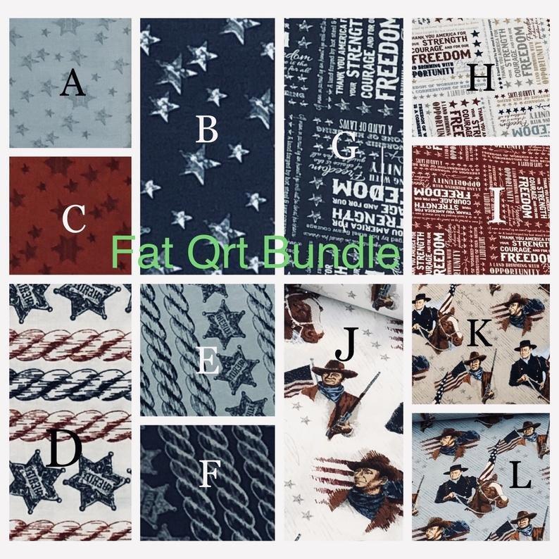 Americana John Wayne Fat Quarter, 12pcs/Riley Blake Designs