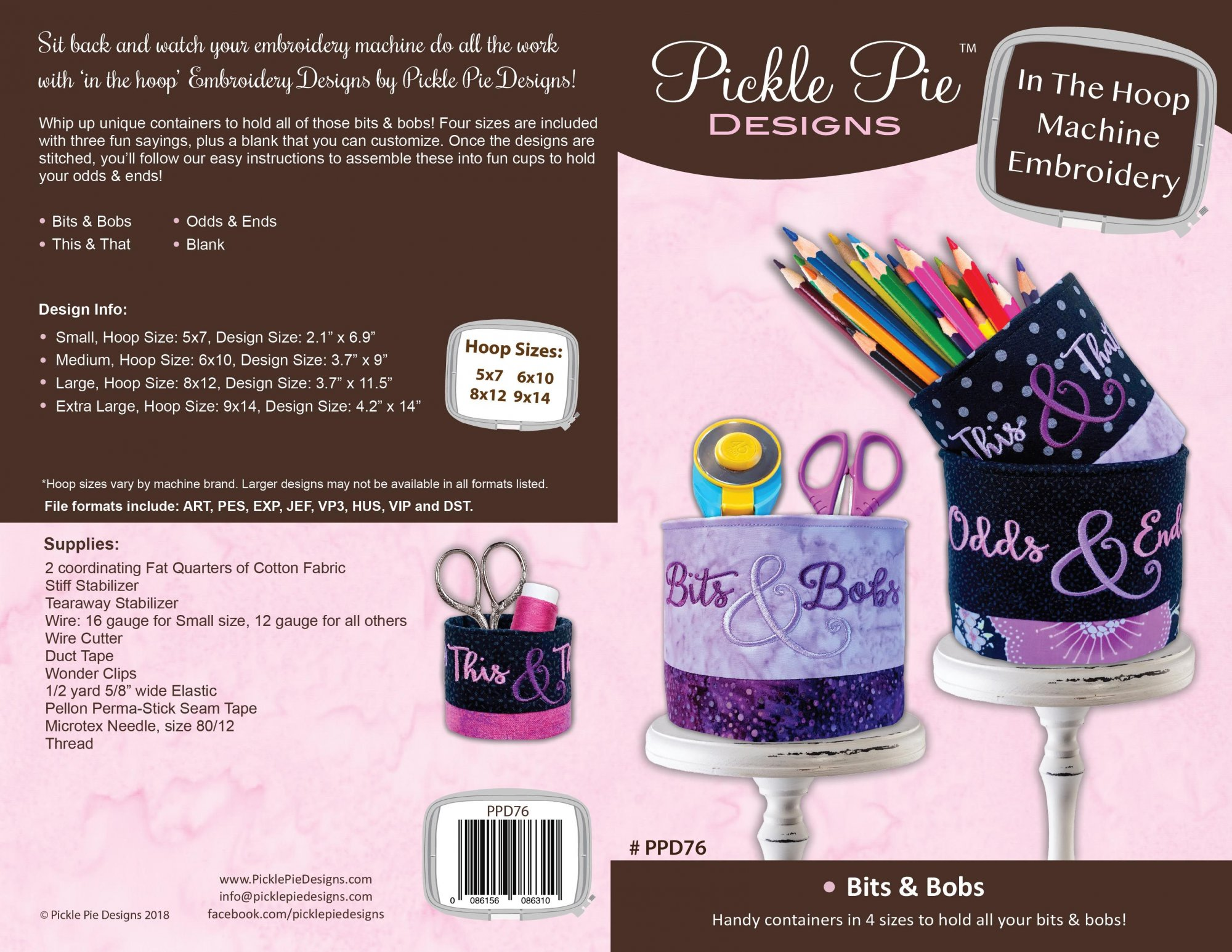 Bits & Bobbs ITH Embroidery Design collection CD