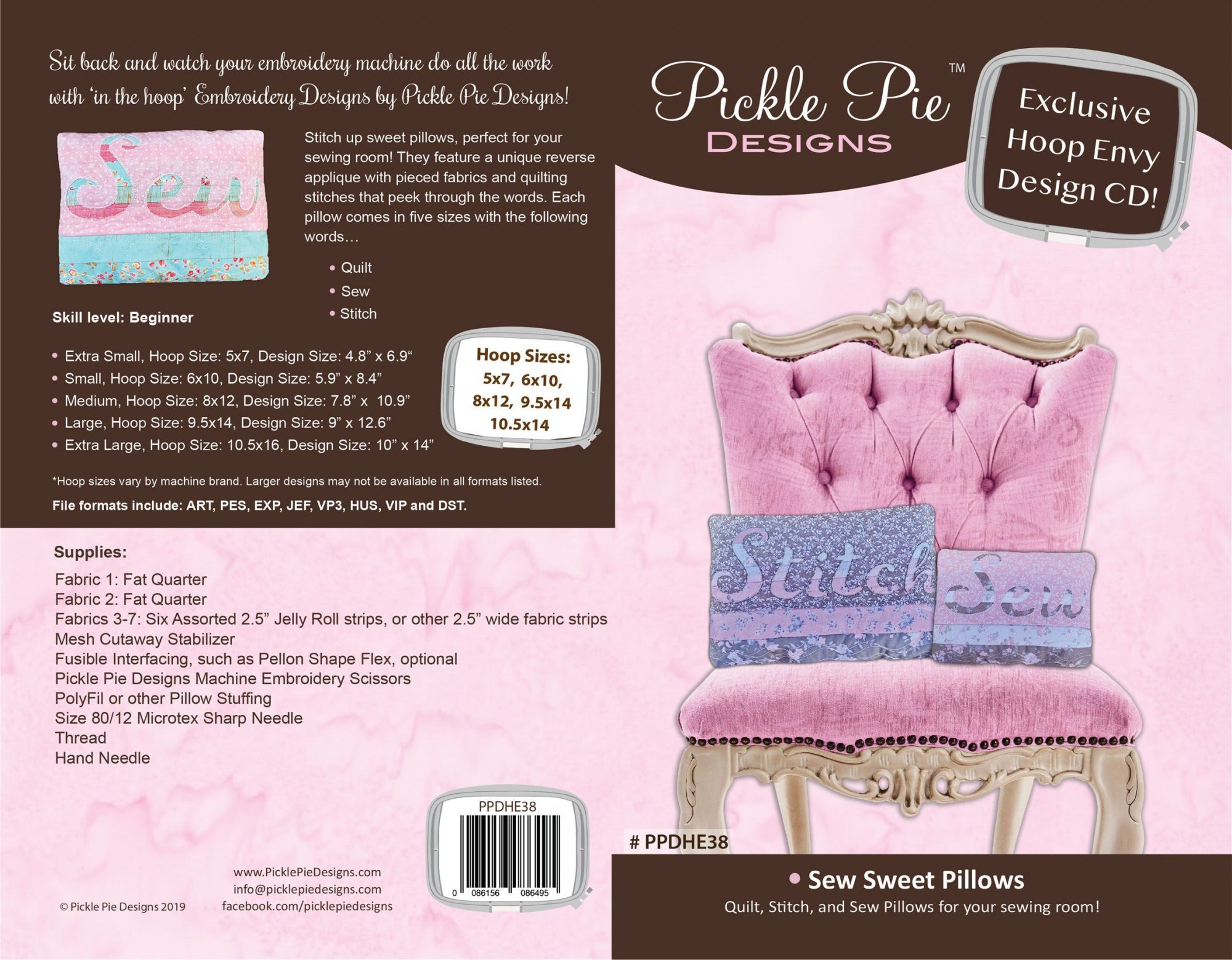 Sew Sweet Pillows ITH Embroidery Design collection CD