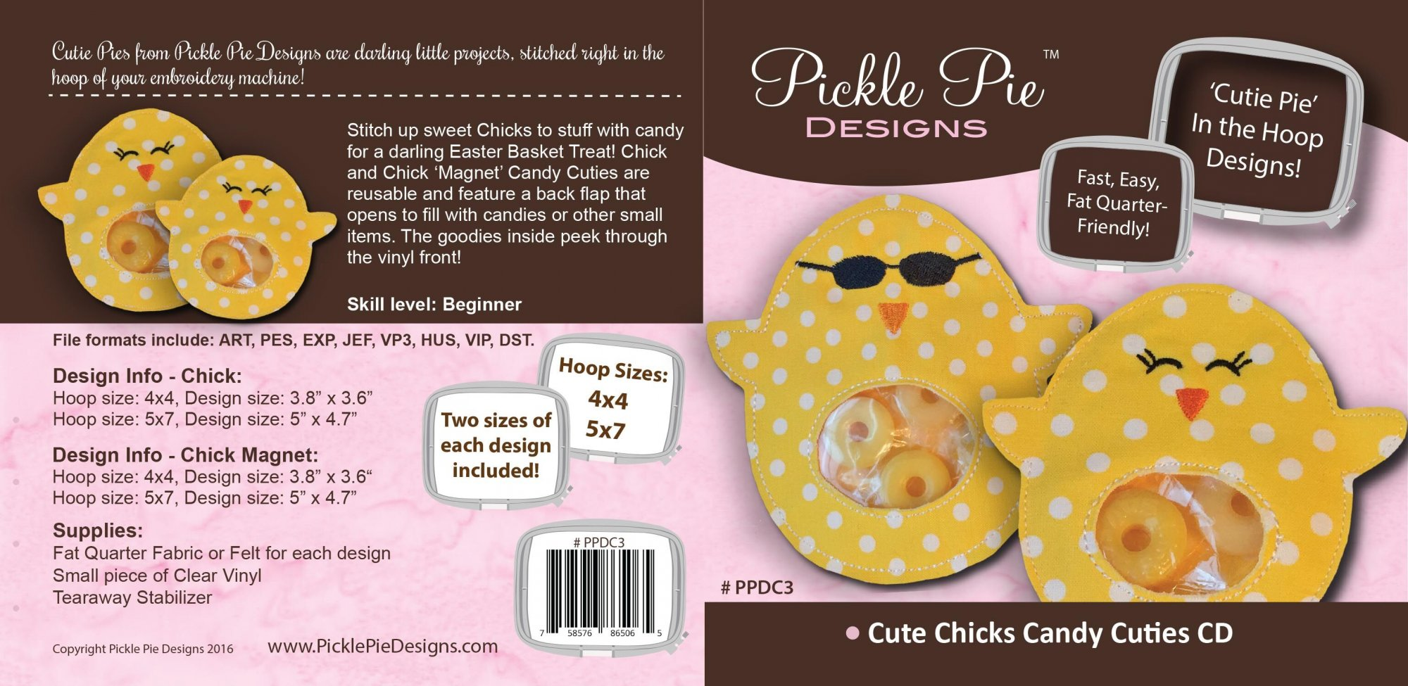 Chick and Chick Magnet Embroidery Design CD