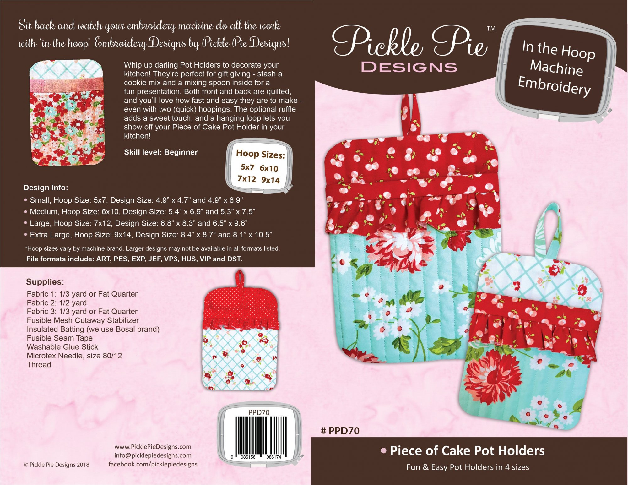 Piece of Cake Pot Holders ITH Embroidery Design collection CD - copy