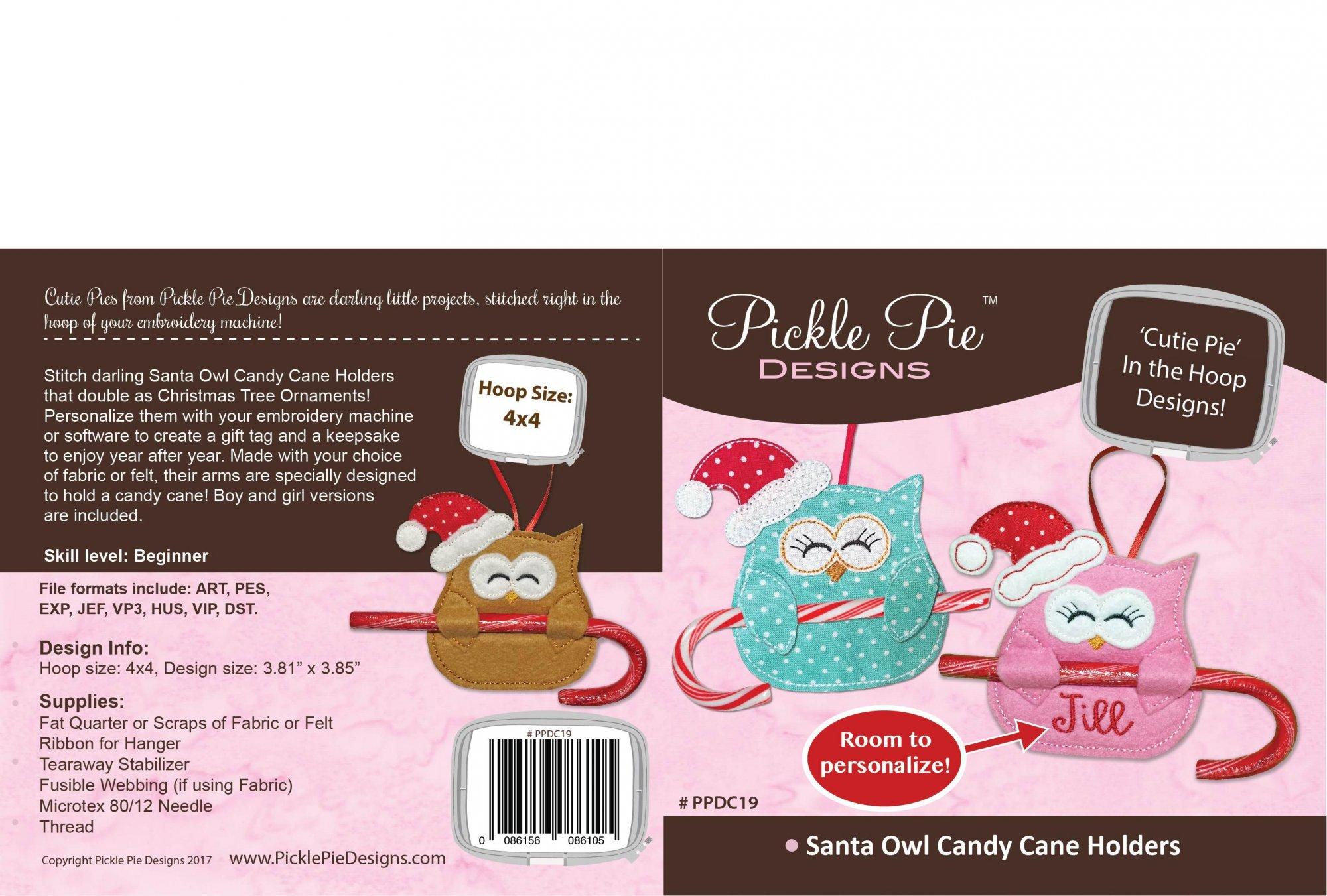 Santa Owl Candy Cane Holders