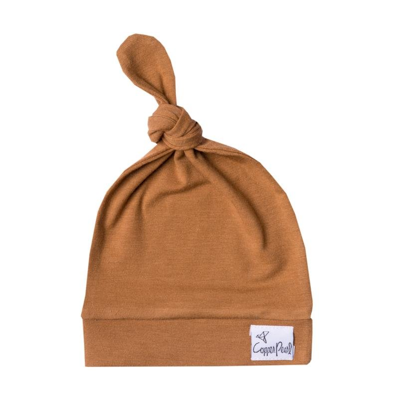 Copper Pearl Top Knot Hat: 0-4mo