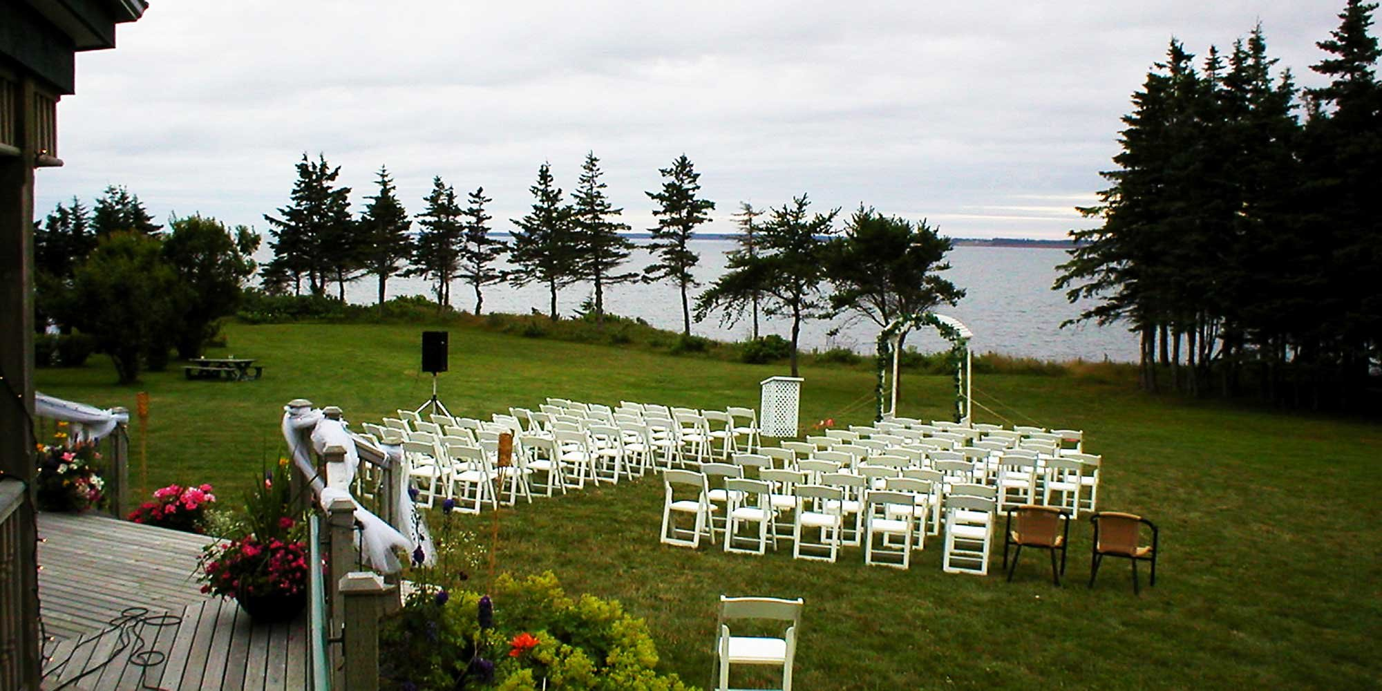 Beachside Wedding chairs and arch